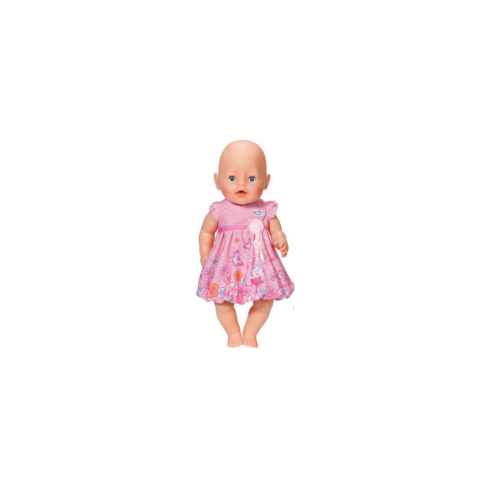 Платье для куклы, розовое, BABY bornБренды кукол<br>Характеристики:<br><br>• Тип одежды для куклы: платье<br>• Предназначение: для сюжетно-ролевых игр<br>• Для куклы или пупсов: BABY born<br>• Рост куклы/пупса: от 43 см<br>• Тематика рисунка: цветы<br>• Материал: текстиль <br>• Декор атласной лентой<br>• Застежка: липучка на спинке<br>• В комплекте предусмотрена вешалка<br>• Вес: 59 г<br>• Размеры упаковки (Д*В*Ш): 23,7*4,5*30,7 см<br>• Упаковка: блистер <br>• Особенности ухода: допускается деликатная стирка без использования красящих и отбеливающих средств <br><br>Платье для куклы, розовое, BABY born от немецкого производителя Zapf Creation предназначено для кукол и пупсов серии BABY born. Выполнено из текстиля высокого качества, который устойчив к изменению цвета и формы. Нежное платье отрезное по талии, оформлено атласной лентой. Рукава выполнены в форме крылышек. Изящность платью придает цветочный принт. Сзади на спинке имеется застежка на липучке, благодаря чему легко и удобно будет переодевать куклу. <br><br>Платье для куклы выполнено с детальным соответствием реальным детским вещам. Сюжетно-ролевые игры с переодеванием кукол способствуют не только приобретению навыков комбинирования предметов гардероба, но и формированию чувства стиля и вкуса у девочки. <br><br>Платье для куклы, розовое, BABY born можно купить в нашем интернет-магазине.<br><br>Ширина мм: 237<br>Глубина мм: 307<br>Высота мм: 45<br>Вес г: 59<br>Возраст от месяцев: 36<br>Возраст до месяцев: 60<br>Пол: Женский<br>Возраст: Детский<br>SKU: 5377748