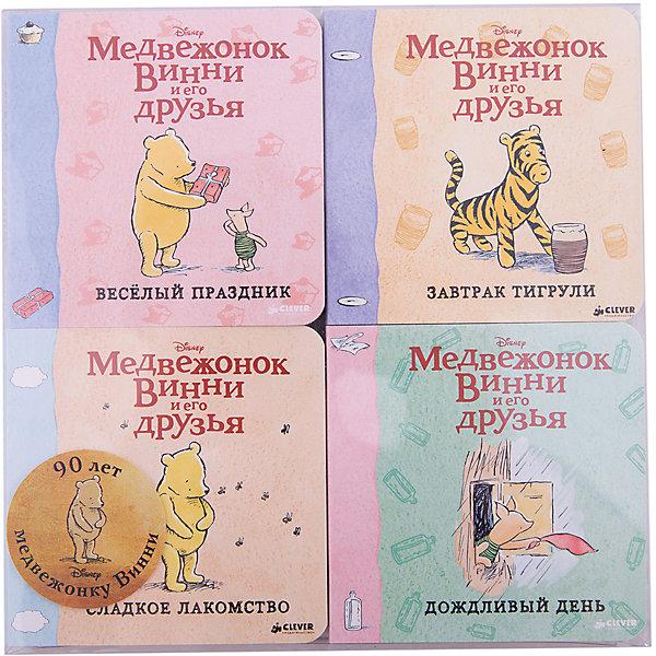 Комплект из четырёх книг, Медвежонок Винни и его друзьяОсновная коллекция<br>Характеристики комплекта из 4 книг Медвежонок Винни и его друзья:<br><br>• возраст: от 12 месяцев<br>• герой: Винни – Пух<br>• пол: для мальчиков и девочек<br>• комплект: 4 книги.<br>• материал: картон, бумага.<br>• количество страниц: 18.<br>• размер книги: 20.5х20.5х3 см.<br>• тип обложки: твердый.<br>• иллюстрации: цветные.<br>• бренд: издательство clever<br>• страна обладатель бренда: Россия.<br><br>Комплект из четырех книг Медвежонок Винни и его друзья от издательства Clever надолго завладеет вниманием многих детей. На страницах этих книжек ребенок найдет интересные захватывающие сюжеты о забавном персонаже - милом Винни Пухе и его лучших друзьях. Яркие красочные иллюстрации разнообразят процесс чтения.<br><br>Комплект из четырёх книг, Медвежонок Винни и его друзья издательства Clever можно купить в нашем интернет-магазине.<br><br>Ширина мм: 205<br>Глубина мм: 205<br>Высота мм: 30<br>Вес г: 520<br>Возраст от месяцев: 0<br>Возраст до месяцев: 36<br>Пол: Унисекс<br>Возраст: Детский<br>SKU: 5377752