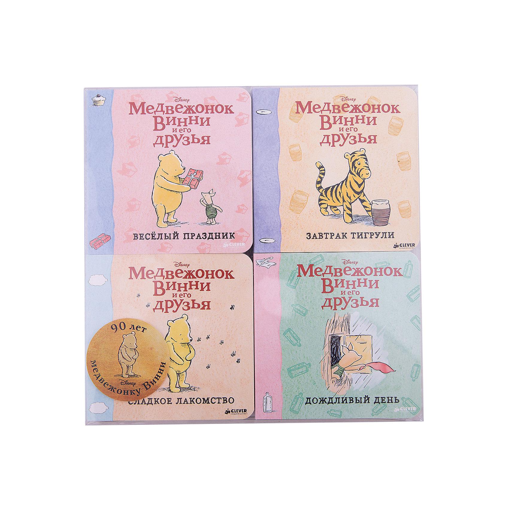 Комплект из четырёх книг, Медвежонок Винни и его друзьяЗарубежные сказки<br>Характеристики комплекта из 4 книг Медвежонок Винни и его друзья:<br><br>• возраст: от 12 месяцев<br>• герой: Винни – Пух<br>• пол: для мальчиков и девочек<br>• комплект: 4 книги.<br>• материал: картон, бумага.<br>• количество страниц: 18.<br>• размер книги: 20.5х20.5х3 см.<br>• тип обложки: твердый.<br>• иллюстрации: цветные.<br>• бренд: издательство clever<br>• страна обладатель бренда: Россия.<br><br>Комплект из четырех книг Медвежонок Винни и его друзья от издательства Clever надолго завладеет вниманием многих детей. На страницах этих книжек ребенок найдет интересные захватывающие сюжеты о забавном персонаже - милом Винни Пухе и его лучших друзьях. Яркие красочные иллюстрации разнообразят процесс чтения.<br><br>Комплект из четырёх книг, Медвежонок Винни и его друзья издательства Clever можно купить в нашем интернет-магазине.<br><br>Ширина мм: 205<br>Глубина мм: 205<br>Высота мм: 30<br>Вес г: 520<br>Возраст от месяцев: 0<br>Возраст до месяцев: 36<br>Пол: Унисекс<br>Возраст: Детский<br>SKU: 5377752