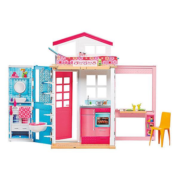 Домик Barbie, BarbieДомики для кукол<br>Характеристики:<br><br>• возраст: от 3 лет;<br>• материал: пластик;<br>• длина домика: 76 см;<br>• высота куклы: до 30 см;<br>• в наборе: дом, мебель, аксессуары;<br>• вес упаковки: 3,7 кг.;<br>• размер упаковки: 46х13х32 см;<br>• страна бренда: США.<br><br>Домик Barbie – собственный уютный коттедж для куклы. В двухэтажном доме есть кухня-гостиная, ванная и даже спальня и спа-салон 2 в 1.<br><br>Подняться кукле на второй этаж поможет лесенка. Дом продуман до мелочей, многие элементы подвижны и трансформируются. В комплекте ряд аксессуаров, включая посуду, расческу и другие.<br><br>Домик имеет оформленный фасад и комнаты, привлечет внимание девочки на долгое время. Набор выполнен из качественных безопасных материалов, отличается прочностью.<br><br>«Домик Barbie», Barbie можно купить в нашем интернет-магазине.<br>Ширина мм: 455; Глубина мм: 135; Высота мм: 320; Вес г: 3760; Возраст от месяцев: 36; Возраст до месяцев: 120; Пол: Женский; Возраст: Детский; SKU: 5378161;