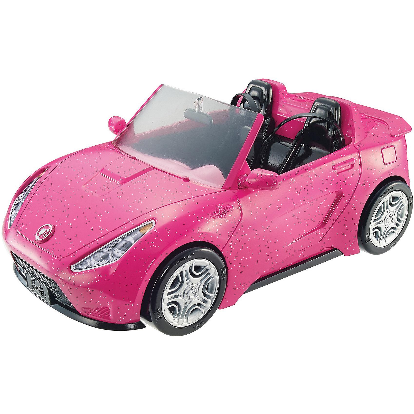 Кабриолет, BarbieКоляски и транспорт для кукол<br>Кабриолет, Barbie.<br><br>Характеристики:<br><br>• материал: пластик<br>• колеса крутятся<br>• куклы приобретаются отдельно<br>• размер упаковки: 36х20х17 см.<br>• страна бренда: США<br>• страна изготовитель: Китай<br><br>Этот стильный двухместный автомобиль выполнен из пластика и выкрашен в нежный розовый цвет; его корпус покрыт сияющими блестками, придающими его утонченным формам сказочный лоск. Черный салон, решетка радиатора и черные колеса с серебристыми дисками дополняют модный образ этого автомобиля.  <br><br>На приборной панели присутствуют наклейки со спидометром и дисплеем, имитирующим навигатор, а также особая символика, делающая этот кабриолет настоящим воплощением стиля Барби. При желании кукол можно пристегнуть с помощью специального ремня безопасности, чтобы затем отправиться в воображаемое путешествие - на прогулку или за покупками.<br><br>Отправляйтесь на прогулку на спортивном кабриолете! Розовый сверкающий кабриолет с серебристыми деталями удивит всех вокруг. Он просто воплощение стиля Barbie. Черный салон со стегаными сиденьями выглядит совсем как настоящий.<br><br>Кабриолет, Barbie можно купить в нашем интернет-магазине.<br><br>Ширина мм: 350<br>Глубина мм: 190<br>Высота мм: 165<br>Вес г: 884<br>Возраст от месяцев: 36<br>Возраст до месяцев: 2147483647<br>Пол: Женский<br>Возраст: Детский<br>SKU: 5378162