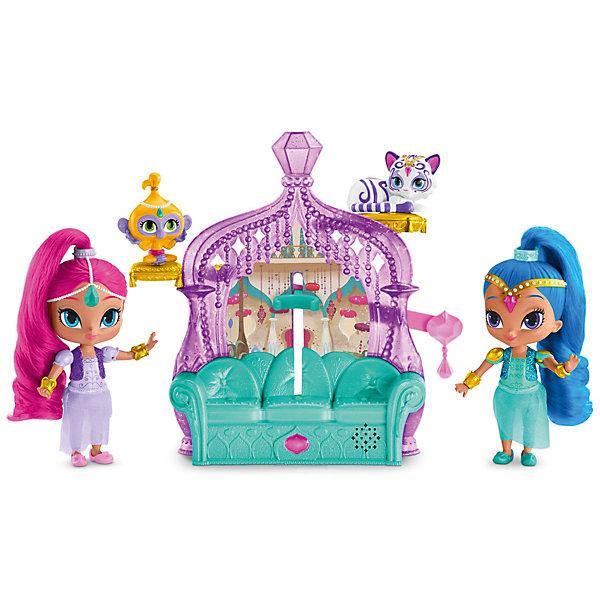 Игровой набор «Волшебный дворец», Shimmer&amp;ShineНаборы с куклой<br>Игровой набор «Волшебный дворец», Shimmer&amp;Shine (Шиммер и Шайн). <br><br>Характеристика:<br><br>• Материал: пластик, текстиль.     <br>• Комплектация: 2 мини-куклы, 2 питомца, диван, аксессуары  <br>• Размер куклы: 15,2 см.<br>• Тип батареек: 2 x AAA / LR0.3 1.5V (мизинчиковые)<br>• Наличие батареек: входят в комплект<br>• Использовать на твердой плоской поверхности.<br><br>В набор входят куклы Shimmer and Shine с блестящими мягкими волосами, одетые в оригинальные восточные костюмы. Диванчик выполняет роль игрового модуля. Стоит посадить на него одну из героинь, закрепить ее с помощью специального механизма и потянуть за специальных рычажок, маленькая волшебница споет ребенку песенку или произнесет одну из коронных фраз. Игровой процесс будет сопровождаться сиянием драгоценных камней, которые украшают диван.<br><br>Игровой набор «Волшебный дворец», Shimmer&amp;Shine (Шиммер и Шайн) можно купить в нашем интернет-магазине.<br><br>Ширина мм: 430<br>Глубина мм: 80<br>Высота мм: 280<br>Вес г: 830<br>Возраст от месяцев: 36<br>Возраст до месяцев: 120<br>Пол: Женский<br>Возраст: Детский<br>SKU: 5378171