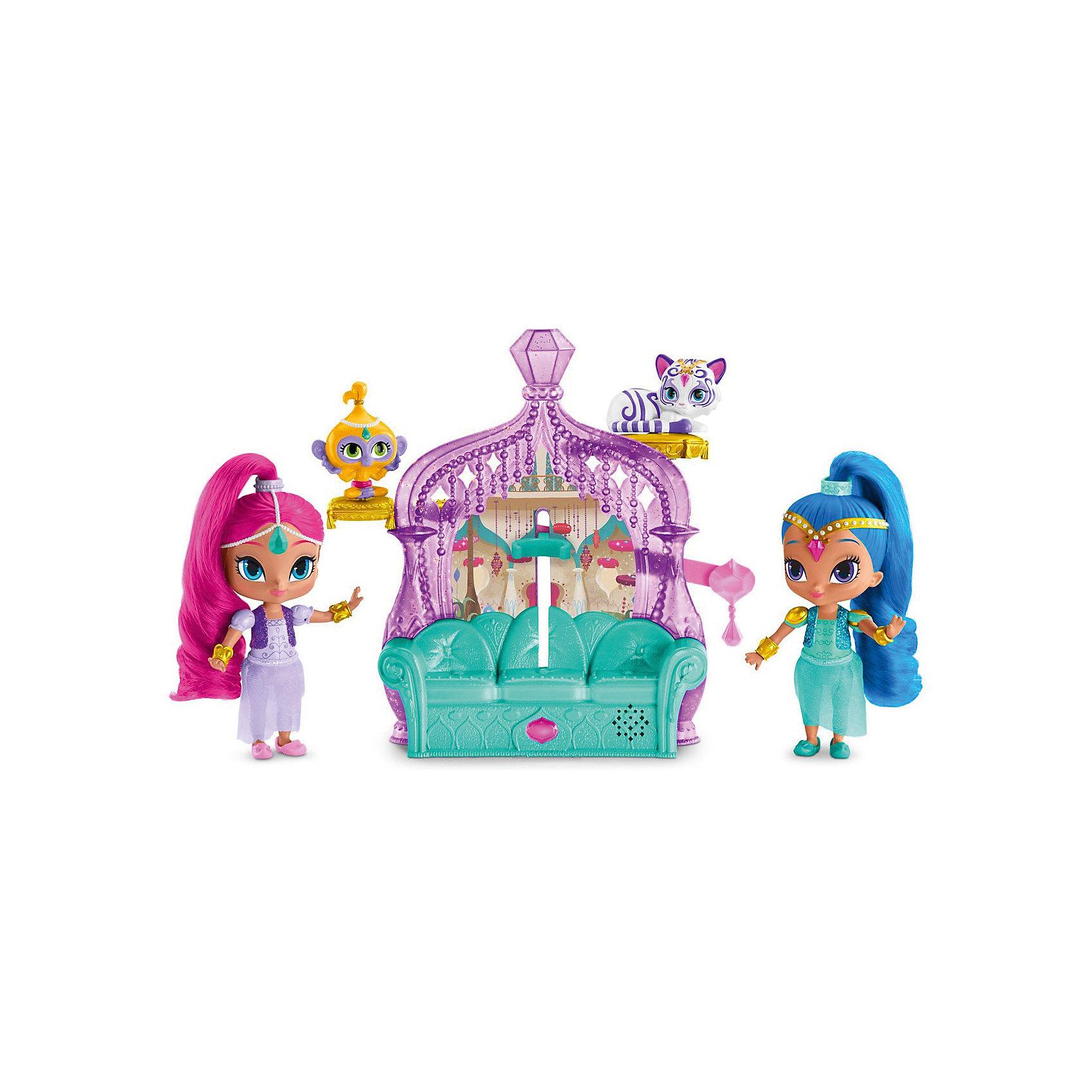 Игровой набор «Волшебный дворец», Shimmer&amp;ShineМини-куклы<br>Игровой набор «Волшебный дворец», Shimmer&amp;Shine (Шиммер и Шайн). <br><br>Характеристика:<br><br>• Материал: пластик, текстиль.     <br>• Комплектация: 2 мини-куклы, 2 питомца, диван, аксессуары  <br>• Размер куклы: 15,2 см.<br>• Тип батареек: 2 x AAA / LR0.3 1.5V (мизинчиковые)<br>• Наличие батареек: входят в комплект<br>• Использовать на твердой плоской поверхности.<br><br>В набор входят куклы Shimmer and Shine с блестящими мягкими волосами, одетые в оригинальные восточные костюмы. Диванчик выполняет роль игрового модуля. Стоит посадить на него одну из героинь, закрепить ее с помощью специального механизма и потянуть за специальных рычажок, маленькая волшебница споет ребенку песенку или произнесет одну из коронных фраз. Игровой процесс будет сопровождаться сиянием драгоценных камней, которые украшают диван.<br><br>Игровой набор «Волшебный дворец», Shimmer&amp;Shine (Шиммер и Шайн) можно купить в нашем интернет-магазине.<br><br>Ширина мм: 430<br>Глубина мм: 80<br>Высота мм: 280<br>Вес г: 830<br>Возраст от месяцев: 36<br>Возраст до месяцев: 120<br>Пол: Женский<br>Возраст: Детский<br>SKU: 5378171