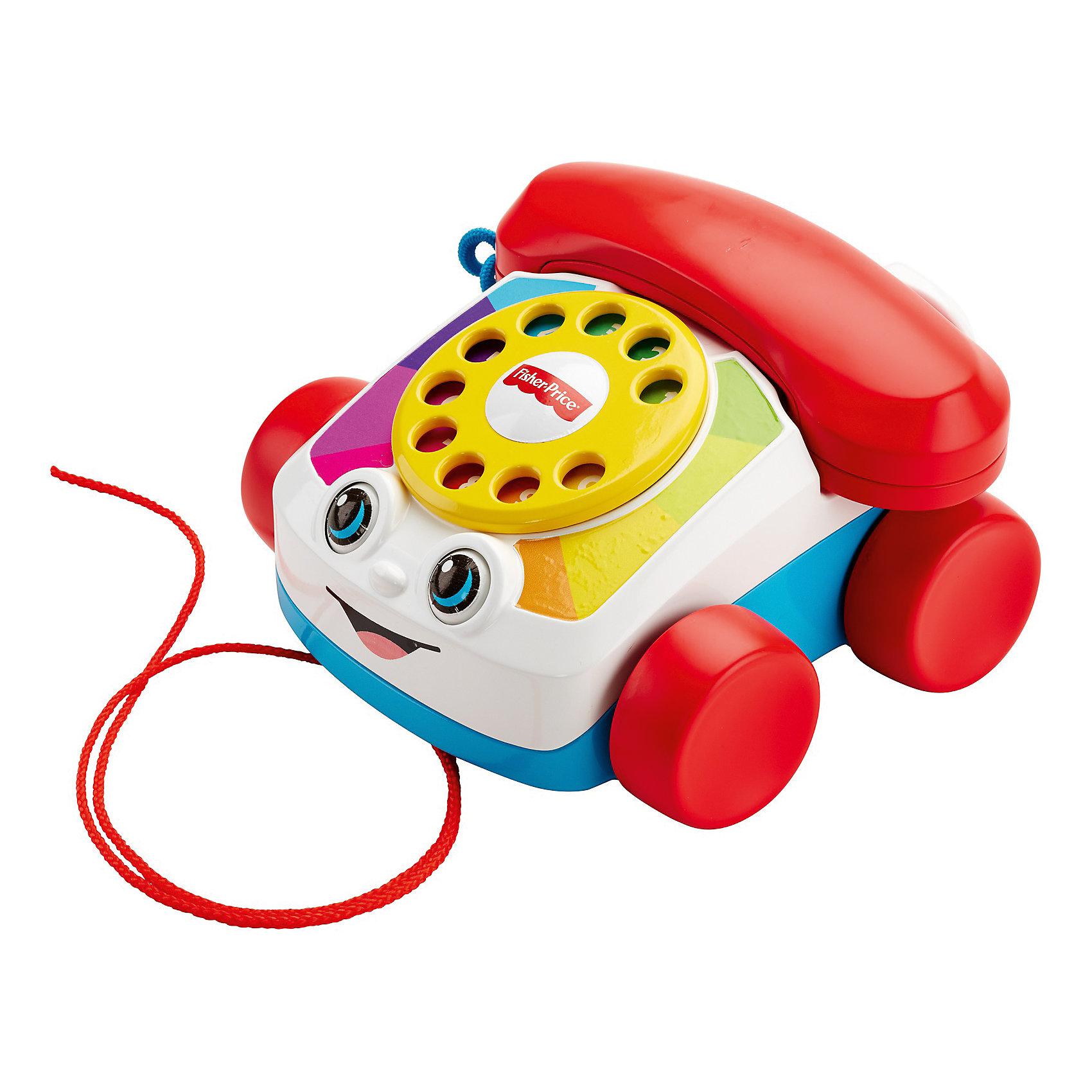 Говорящий телефон на колесах, Fisher PriceТелефоны<br>Говорящий телефон на колесах, Fisher Price (Фишер Прайс).<br><br>Характеристики:<br><br>• Размер: 16х16х10 см.<br>• Материал: пластик<br>• Упаковка: картонная коробка открытого типа.<br>• Размер упаковки: 21х18х15 см.<br><br>Игрушка Говорящий телефон от производителя Fisher-Price (Фишер Прайс) способствует развитию крупной моторики и имеет другие функции, стимулирующие развитие малыша. Телефон на устойчивых колесах можно катать по полу с помощью веревочки, как игрушечную машинку. Глазки при этом двигаются и игрушка будто подмигивает. <br><br>Если крутить пальчиком диск с цифрами - воспроизводится звук как при наборе номера на настоящем телефоне. Благодаря этому, в игровой форме можно научить ребенка цифрам от 0 до 9. Играя с телефонной трубкой, малыш будет тренировать дикцию, проговаривая телефонные диалоги, совсем как взрослый<br><br>Говорящий телефон на колесах, Fisher Price (Фишер Прайс) можно купить в нашем интернет-магазине.<br><br>Ширина мм: 180<br>Глубина мм: 145<br>Высота мм: 205<br>Вес г: 492<br>Возраст от месяцев: 12<br>Возраст до месяцев: 36<br>Пол: Унисекс<br>Возраст: Детский<br>SKU: 5378266