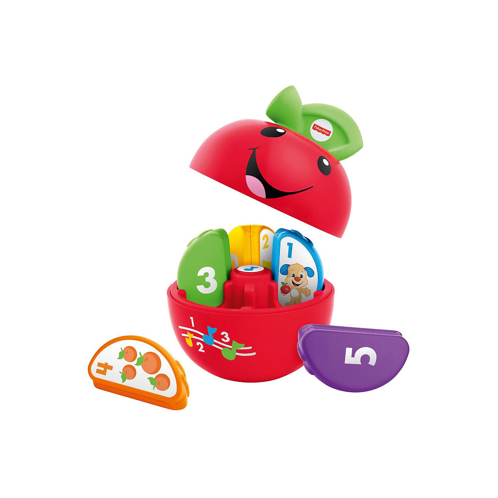 Сортер Смейся и учись - Умное яблочко (звук)Сортеры<br>Характеристики товара:<br><br>• комплектация: игрушка, упаковка <br>• материал: пластик<br>• серия: Смейся и учись<br>• тип батареек: 1 x AA / LR6 1.5V (пальчиковые)<br>• наличие батареек: входят в комплект<br>• возраст: от 6 месяцев<br>• для мальчиков и девочек<br>• габариты упаковки: 21x21х13 см<br>• вес: 0.625 кг.<br>• страна бренда: США<br><br>Яблочко – уникальная игрушка, помогающая молодым родителям с ранним развитием малыша. У яблочка 5 долек, на каждой из которых есть цифры и рисунки. Игрушка обладает звуковыми эффектами. Стоит отметить, что все товары, выпускаемые компанией Mattel, полностью безопасны для ребенка и соответствуют международным  требованиям по качеству материалов. <br><br>Игрушку Обучающая игрушка Яблочко из серии Смейся и учись, Fisher Price можно приобрести в нашем интернет-магазине.<br><br>Ширина мм: 205<br>Глубина мм: 125<br>Высота мм: 205<br>Вес г: 625<br>Возраст от месяцев: 6<br>Возраст до месяцев: 36<br>Пол: Унисекс<br>Возраст: Детский<br>SKU: 5378267