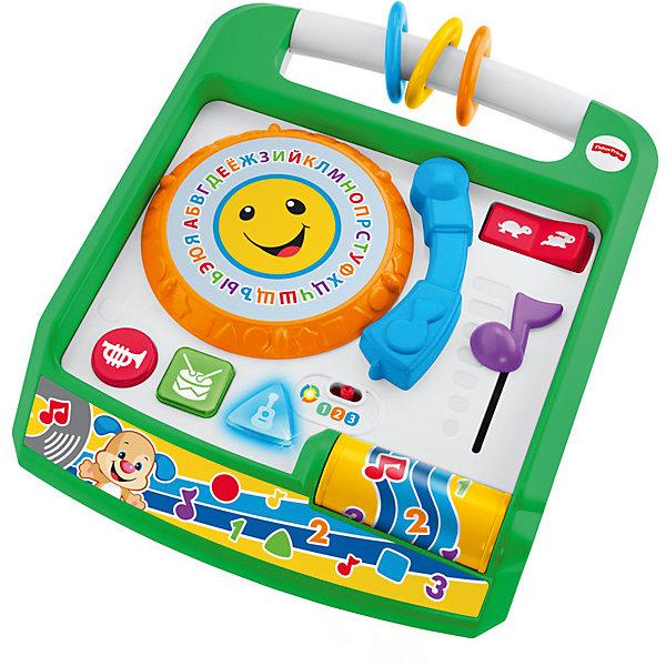 Музыкальная панель Ученого Щенка из серии Смейся и учись, Fisher PriceИнтерактивные игрушки для малышей<br>Характеристики товара:<br><br>• возраст: от 6 месяцев;<br>• материал: пластик;<br>• тип батареек: 3 батарейки АА;<br>• наличие батареек: демонстрационные в комплекте;<br>• размер упаковки: 33х30х10 см;<br>• вес упаковки: 1,11 кг;<br>• страна производитель: Китай.<br><br>Развивающая игрушка «Смейся и учись. Музыкальная панель Ученого Щенка» Fisher Price — увлекательная развивающая игрушка для детей от 6 месяцев, которая включает в себя 7 игр и 65 разнообразных мелодий. С ее помощью малыш выучит цвета, цифры, новые слова, понятие формы. Игрушка поспособствует развитию мелкой моторики рук, тактильных ощущений, музыкального слуха, логического мышления.<br><br>В зависимости от возраста предусмотрено 3 уровня сложности. Игрушка выполнена из качественного безопасного пластика и не имеет острых элементов.<br><br>Развивающую игрушку «Смейся и учись. Музыкальная панель Ученого Щенка» Fisher Price можно приобрести в нашем интернет-магазине.<br>Ширина мм: 290; Глубина мм: 90; Высота мм: 330; Вес г: 1329; Возраст от месяцев: 6; Возраст до месяцев: 2147483647; Пол: Унисекс; Возраст: Детский; SKU: 5378268;