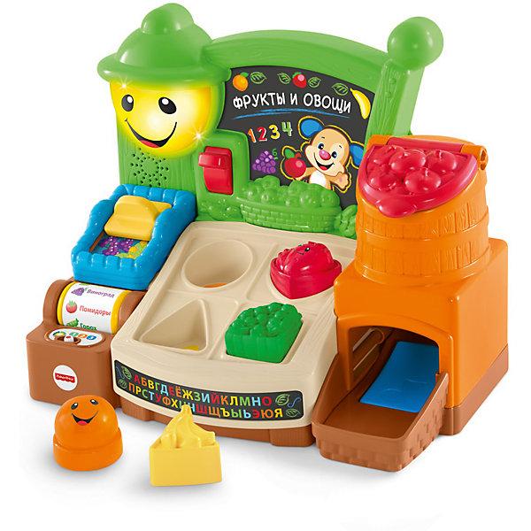 Обучающий прилавок Fisher Price Смейся и учись - Веселые фрукты (звук, свет)Интерактивные игрушки для малышей<br>Характеристики товара:<br><br>• возраст: от 9 месяцев;<br>• материал: пластик;<br>• тип батареек: 3 батарейки АА;<br>• наличие батареек: не входят в комплект;<br>• размер упаковки: 33х31х19 см;<br>• вес упаковки: 1,6 кг;<br>• страна производитель: Китай.<br><br>Развивающая игрушка «Прилавок с фруктами и овощами» Fisher Price — увлекательная развивающая игрушка для детей от 6 месяцев, которая включает в себя развивающие и 65 разнообразных мелодий. На игровой панели имеются корзинка для фруктов, вращающийся бочонок, сортер с фигурками разной формы, светящийся фонарик. <br><br>С ее помощью малыш выучит названия фруктов, цвета, цифры от 1 до 10, новые слова не только на русском, но и на английском, познакомится с понятием формы. Игрушка поспособствует развитию мелкой моторики рук, тактильных ощущений, музыкального слуха, логического мышления.<br><br>В зависимости от возраста предусмотрено 3 уровня обучения: «Обучение», «Вовлечение», «Развитие». Игрушка выполнена из качественного безопасного пластика и не имеет острых элементов.<br><br>Развивающую игрушку «Прилавок с фруктами и овощами» Fisher Price можно приобрести в нашем интернет-магазине.<br><br>Ширина мм: 310<br>Глубина мм: 190<br>Высота мм: 330<br>Вес г: 690<br>Возраст от месяцев: 9<br>Возраст до месяцев: 2147483647<br>Пол: Унисекс<br>Возраст: Детский<br>SKU: 5378270