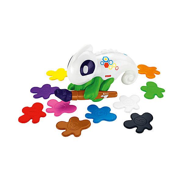 Обучающий хамелеон, Fisher PriceИнтерактивные игрушки для малышей<br>Характеристики товара:<br><br>• возраст: от 3 лет;<br>• материал: пластик;<br>• в комплекте: хамелеон, 10 пластинок;<br>• тип батареек: 4 батарейки ААА;<br>• наличие батареек: в комплекте;<br>• размер упаковки: 33х28х10 см;<br>• вес упаковки: 635 гр.;<br>• страна производитель: Китай.<br><br>Обучающий хамелеон Fisher Price — увлекательная развивающая игрушка для детей. Играя с ним, ребенок выучит цифры и цвета. Хамелеон держит небольшую кисточку-сканер, которая умеет распознавать цвета предметов. Для активации надо нажать кнопку на игрушке, поднести кисточку к любому предмету, хамелеон сразу скажет его название и даже окрасится в этот цвет. <br><br>Для обучения предусмотрены 3 режима. Режим «Цвета» научит малыша определять и отличать предметы разного цвета. Режим «Счет», где ребенок будет считать предметы одинакового цвета, а хамелеон дает ребенку разнообразные задания. В режиме «Игры» ребенок весело проведет время, играя с хамелеоном в развивающие игры.<br><br>Обучающего хамелеона Fisher Price можно приобрести в нашем интернет-магазине.<br>Ширина мм: 280; Глубина мм: 105; Высота мм: 330; Вес г: 1165; Возраст от месяцев: 36; Возраст до месяцев: 2147483647; Пол: Унисекс; Возраст: Детский; SKU: 5378271;