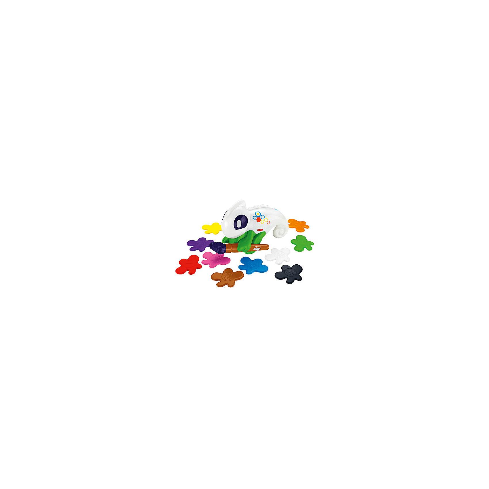 Обучающий хамелеон, Fisher PriceРазвивающие игрушки<br>Характеристики товара:<br><br>• возраст: от 3 лет;<br>• материал: пластик;<br>• в комплекте: хамелеон, 10 пластинок;<br>• тип батареек: 4 батарейки ААА;<br>• наличие батареек: в комплекте;<br>• размер упаковки: 33х28х10 см;<br>• вес упаковки: 635 гр.;<br>• страна производитель: Китай.<br><br>Обучающий хамелеон Fisher Price — увлекательная развивающая игрушка для детей. Играя с ним, ребенок выучит цифры и цвета. Хамелеон держит небольшую кисточку-сканер, которая умеет распознавать цвета предметов. Для активации надо нажать кнопку на игрушке, поднести кисточку к любому предмету, хамелеон сразу скажет его название и даже окрасится в этот цвет. <br><br>Для обучения предусмотрены 3 режима. Режим «Цвета» научит малыша определять и отличать предметы разного цвета. Режим «Счет», где ребенок будет считать предметы одинакового цвета, а хамелеон дает ребенку разнообразные задания. В режиме «Игры» ребенок весело проведет время, играя с хамелеоном в развивающие игры.<br><br>Обучающего хамелеона Fisher Price можно приобрести в нашем интернет-магазине.<br><br>Ширина мм: 280<br>Глубина мм: 105<br>Высота мм: 330<br>Вес г: 1165<br>Возраст от месяцев: 36<br>Возраст до месяцев: 2147483647<br>Пол: Унисекс<br>Возраст: Детский<br>SKU: 5378271