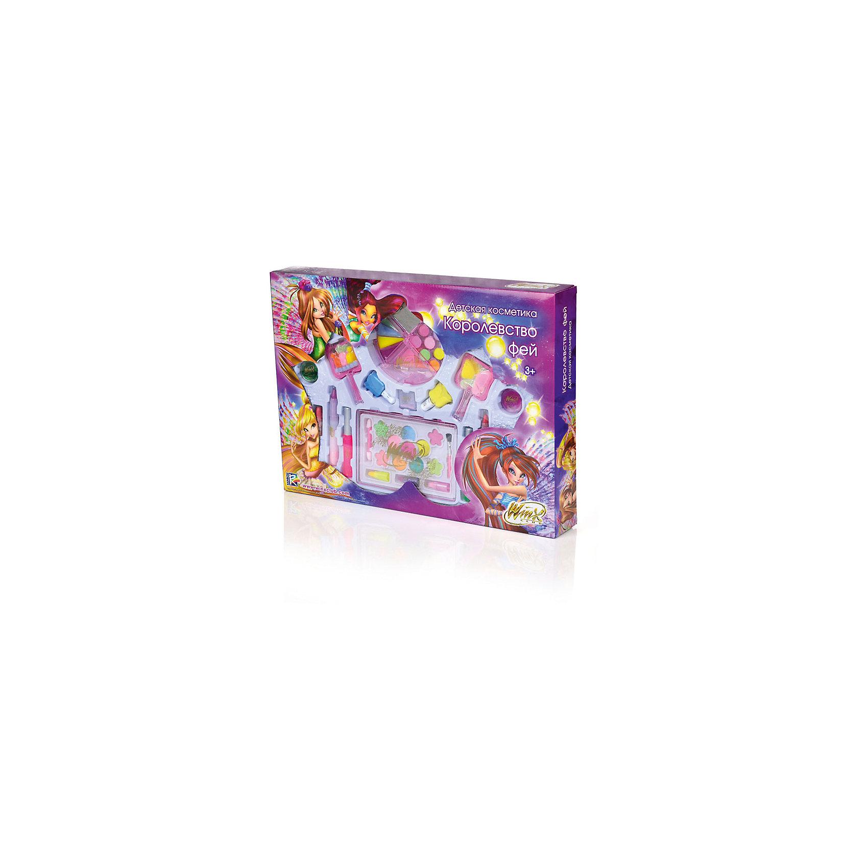 Набор детской косметики Королевство фей, Winx ClubНабор детской косметики Королевство фей, Winx Club<br><br>Характеристики:<br><br>• яркие цвета<br>• удобная упаковка<br>• хорошо наносится<br>• легко смывается<br>• безопасна для детской кожи<br>• в комплекте: тени для век, помада (3 шт.), карандаш для губ ( 2 шт.), блеск для губ, лак для ногтей (2 шт.)<br>• размер упаковки: 6х32,5х43,2см<br>• вес: 583 грамма<br><br>Королевство фей - набор детской косметики от фей Винкс. В комплект входят тени для век, помада, блеск для губ, лак для ногтей, карандаши для губ. С их помощью девочка придумает и воплотит в жизнь самые смелые и оригинальные образы. Косметика полностью безопасна для чувствительной детской кожи. Она хорошо наносится и быстро стирается ватным диском, смоченным в воде. Этот набор станет замечательным подарком для юной поклонницы Winx Club!<br><br>Набор детской косметики Королевство фей, Winx Club вы можете купить в нашем интернет-магазине.<br><br>Ширина мм: 432<br>Глубина мм: 325<br>Высота мм: 60<br>Вес г: 583<br>Возраст от месяцев: 36<br>Возраст до месяцев: 72<br>Пол: Женский<br>Возраст: Детский<br>SKU: 5379338