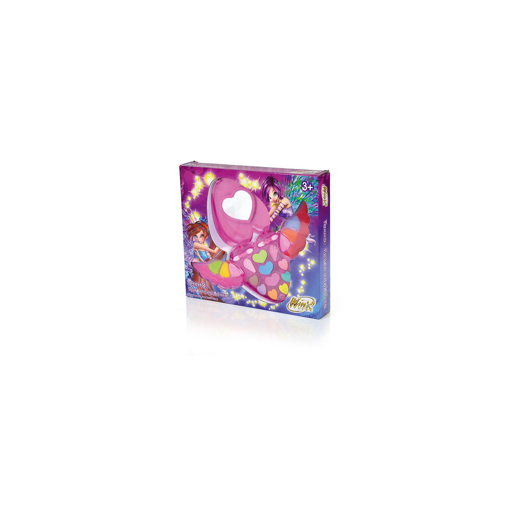 Набор детской косметики Текна: Яркое сердечко, Winx CLubПопулярные игрушки<br>Набор детской косметики Текна: Яркое сердечко, Winx CLub<br><br>Характеристики:<br><br>• яркие цвета<br>• удобная упаковка<br>• хорошо наносится<br>• легко смывается<br>• безопасна для детской кожи<br>• в комплекте: тени для век, блеск для губ, аппликатор (2 шт.)<br>• размер упаковки: 4,6х25,2х28 см<br>• вес: 260 грамм<br><br>В набор детской косметики Текна: яркое сердечко входят тени для век, блеск для губ и два аппликатора. С их помощью девочка сможет создать красивый макияж в стиле Винкс. Косметика легко наносится на кожу и хорошо смывается водой. Продукция отличается высоким качеством, гарантирующим безопасность ребенка. Создайте яркий образ вместе с феями Винкс!<br><br>Набор детской косметики Текна: Яркое сердечко, Winx CLub можно купить в нашем интернет-магазине.<br><br>Ширина мм: 280<br>Глубина мм: 252<br>Высота мм: 46<br>Вес г: 260<br>Возраст от месяцев: 36<br>Возраст до месяцев: 72<br>Пол: Женский<br>Возраст: Детский<br>SKU: 5379339