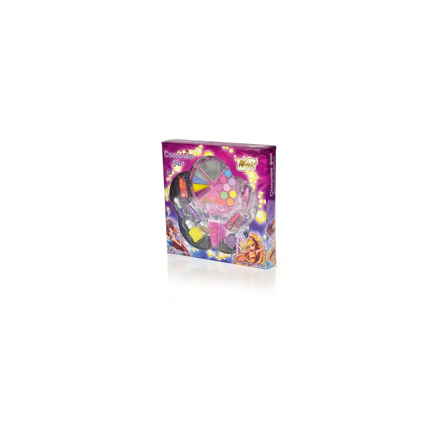 Набор детской косметики Стильные феи, Winx ClubНабор детской косметики Стильные феи, Winx Club<br><br>Характеристики:<br><br>• яркие цвета<br>• удобная упаковка<br>• хорошо наносится<br>• легко смывается<br>• безопасна для детской кожи<br>• в комплекте: помада (4 шт.), блеск для губ, тени для век, лак для ногтей (2 шт.), аппликаторы<br>• размер упаковки: 4,1х24,7х24,7 см<br>• вес: 230 грамм<br><br>Наверняка каждая поклонница Winx Club мечтает побывать в образе любимых фей. С набором косметики Стильные феи мечта девочки обязательно сбудется! Юная модница сможет сделать самый красивый макияж и маникюр в любимом стиле. В набор входят тени для век, помады, блеск для губ, лак для ногтей и аппликаторы. Косметика легко наносится и стирается смоченным в воде ватным диском. Не вызывает аллергии и раздражения на детской коже.<br><br>Набор детской косметики Стильные феи, Winx Club вы можете купить в нашем интернет-магазине.<br><br>Ширина мм: 247<br>Глубина мм: 247<br>Высота мм: 41<br>Вес г: 230<br>Возраст от месяцев: 36<br>Возраст до месяцев: 72<br>Пол: Женский<br>Возраст: Детский<br>SKU: 5379343