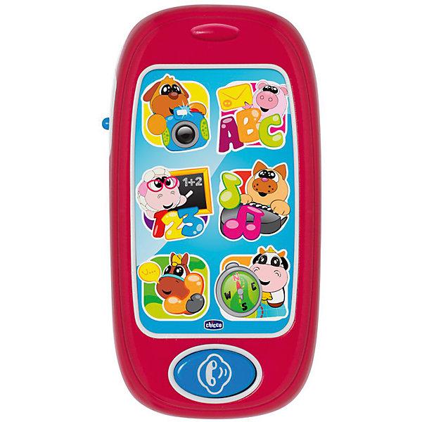 Развивающая игрушка Говорящий смартфон ABC (рус/англ), ChiccoДетские гаджеты<br>Развивающая игрушка Говорящий смартфон ABC (рус/англ), Chicco<br><br>Характеристики:<br><br>- в набор входит: телефон<br>- состав: пластик<br>- функции: световые и звуковые эффекты, 24 мелодии<br>- элементы питания: на батарейках<br>- для детей в возрасте: от 6 месяцев до 3 лет <br>- Страна производитель: Китай<br><br>Новый смартфон из серии Двуязычная обучающая игрушка от известного итальянского бренда товаров для детей Chicco (Чико) придут по вкусу малышам. В этом телефоне семь больших кнопок и 24 разные мелодии на русском и английском языках. Шесть веселых животных: собачка, хрюшка, овечка, котик, лошадка и коровка помогут малышу научиться цифрам, буквам, дням недели, направлению движения, стихам, звукам животных, песням для детей и мелодиям. Кнопки с животными мигают. <br><br>Элементы питания надежно спрятаны внутри телефона и ребенок не сможет их достать, с помощью отвертки можно их заменить. Играя с телефоном малыш сможет развивать тактильное, звуковое и цветовое восприятие, сможет развивать память, логическое мышление научиться базовым фразам на двух языках.<br><br>Развивающую игрушку Говорящий смартфон ABC (рус/англ), Chicco можно купить в нашем интернет-магазине.<br>Ширина мм: 141; Глубина мм: 204; Высота мм: 46; Вес г: 180; Возраст от месяцев: 6; Возраст до месяцев: 36; Пол: Унисекс; Возраст: Детский; SKU: 5379345;
