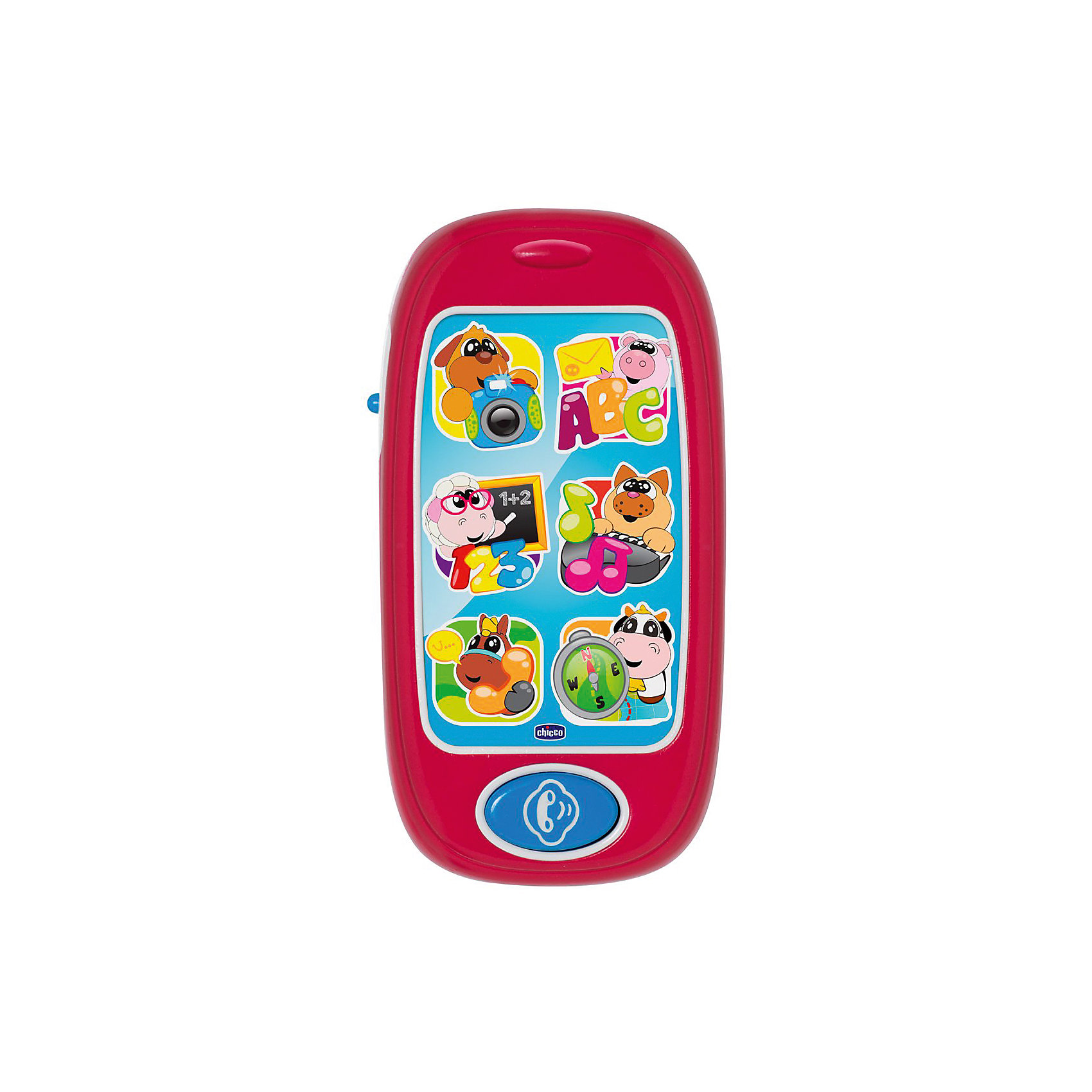 Развивающая игрушка Говорящий смартфон ABC (рус/англ), ChiccoИнтерактивные игрушки для малышей<br>Развивающая игрушка Говорящий смартфон ABC (рус/англ), Chicco<br><br>Характеристики:<br><br>- в набор входит: телефон<br>- состав: пластик<br>- функции: световые и звуковые эффекты, 24 мелодии<br>- элементы питания: на батарейках<br>- для детей в возрасте: от 6 месяцев до 3 лет <br>- Страна производитель: Китай<br><br>Новый смартфон из серии Двуязычная обучающая игрушка от известного итальянского бренда товаров для детей Chicco (Чико) придут по вкусу малышам. В этом телефоне семь больших кнопок и 24 разные мелодии на русском и английском языках. Шесть веселых животных: собачка, хрюшка, овечка, котик, лошадка и коровка помогут малышу научиться цифрам, буквам, дням недели, направлению движения, стихам, звукам животных, песням для детей и мелодиям. Кнопки с животными мигают. <br><br>Элементы питания надежно спрятаны внутри телефона и ребенок не сможет их достать, с помощью отвертки можно их заменить. Играя с телефоном малыш сможет развивать тактильное, звуковое и цветовое восприятие, сможет развивать память, логическое мышление научиться базовым фразам на двух языках.<br><br>Развивающую игрушку Говорящий смартфон ABC (рус/англ), Chicco можно купить в нашем интернет-магазине.<br><br>Ширина мм: 141<br>Глубина мм: 204<br>Высота мм: 46<br>Вес г: 180<br>Возраст от месяцев: 6<br>Возраст до месяцев: 36<br>Пол: Унисекс<br>Возраст: Детский<br>SKU: 5379345