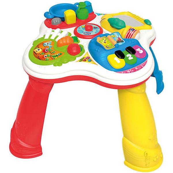 Развивающая игрушка Говорящий Столик (рус/англ), ChiccoРазвивающие центры<br>Развивающая игрушка Говорящий Столик (рус/англ), Chicco<br><br>Характеристики:<br><br>- в набор входит: интерактивный столик<br>- состав: пластик<br>- функции: световые и звуковые эффекты, 60 мелодий<br>- элементы питания: на батарейках<br>- для детей в возрасте: от 1 до 3 лет <br>- Страна производитель: Китай<br><br>Новый Говорящий Столик из серии Двуязычная обучающая игрушка от известного итальянского бренда товаров для детей Chicco (Чико) придет по вкусу малышам. Столик разделен на несколько тематических зон, помогающих развиваться в разных направлениях. Зона кухни представлена в виде большой тарелки, солонки, перечницы и соусницы разных форм, которые нужно вставлять в столик. Серебряная кнопка активирует звуки, которые можно услышать на кухне. Творческая зона с планшетом для рисования и ручкой-самолетом помогут малышу развивать свои творческие способности, учиться писать цифры и буквы, рисовать любимых животных. Зона с овощами и фруктами научит названиям основных овощей и фруктов, морковь и помидор вынимаются и с ним можно играть.<br><br> Музыкальный блок столика состоит из больших разноцветных клавиш и книги, которую можно листать. В этом блоке играют песни на двух языках, демонстрируются музыкальные инструменты и их звучание. Ножки столика можно снять и играть без них. Развивайтесь вместе с новым столиком и новыми играми! Играя со столиком малыш сможет развивать тактильное, звуковое и цветовое восприятие, сможет развивать память, логическое мышление научиться базовым фразам на двух языках.<br><br>Развивающую игрушку Говорящий Столик (рус/англ), Chicco можно купить в нашем интернет-магазине.<br>Ширина мм: 120; Глубина мм: 390; Высота мм: 635; Вес г: 2750; Возраст от месяцев: 12; Возраст до месяцев: 36; Пол: Унисекс; Возраст: Детский; SKU: 5379346;