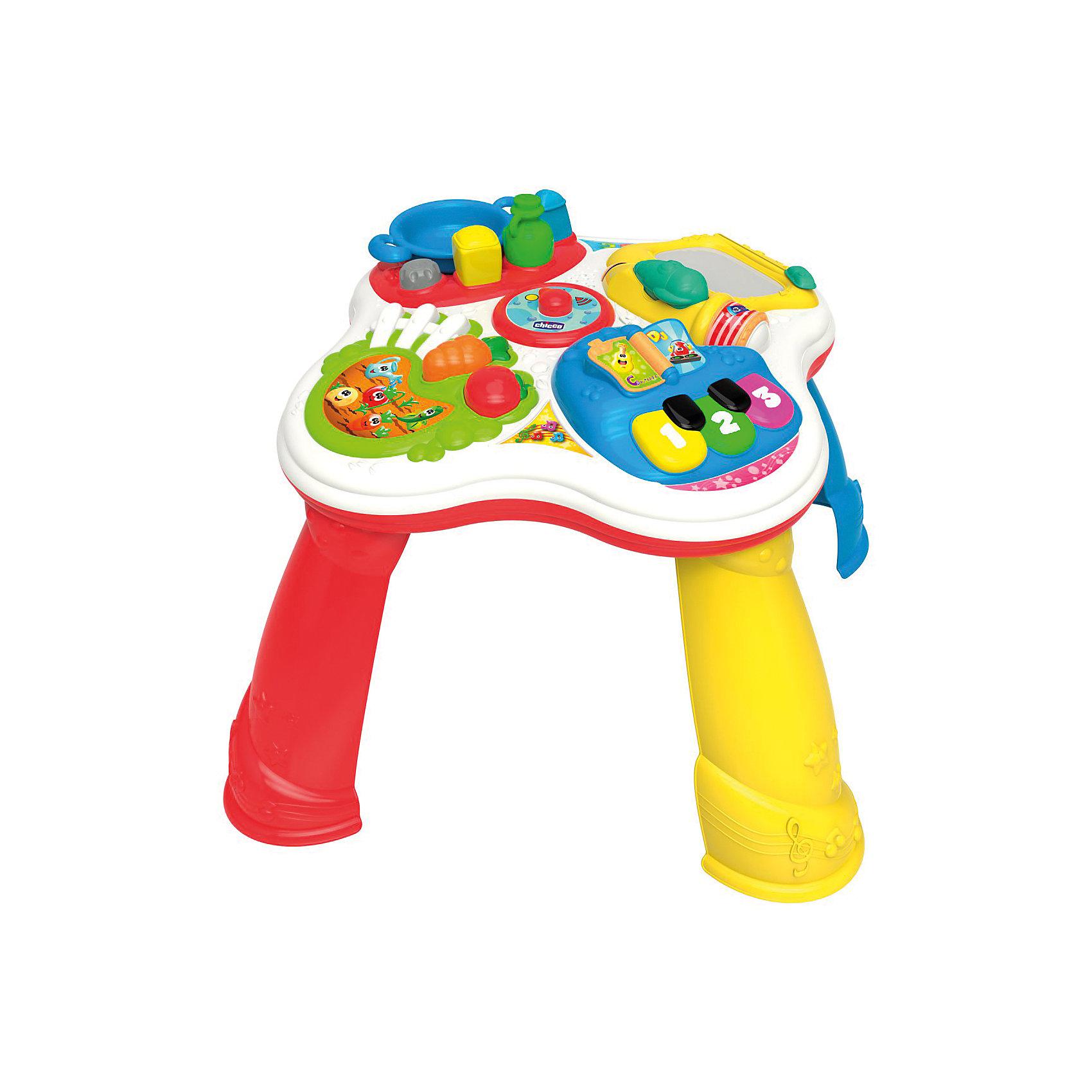 Развивающая игрушка Говорящий Столик (рус/англ), ChiccoИнтерактивные игрушки для малышей<br>Развивающая игрушка Говорящий Столик (рус/англ), Chicco<br><br>Характеристики:<br><br>- в набор входит: интерактивный столик<br>- состав: пластик<br>- функции: световые и звуковые эффекты, 60 мелодий<br>- элементы питания: на батарейках<br>- для детей в возрасте: от 1 до 3 лет <br>- Страна производитель: Китай<br><br>Новый Говорящий Столик из серии Двуязычная обучающая игрушка от известного итальянского бренда товаров для детей Chicco (Чико) придет по вкусу малышам. Столик разделен на несколько тематических зон, помогающих развиваться в разных направлениях. Зона кухни представлена в виде большой тарелки, солонки, перечницы и соусницы разных форм, которые нужно вставлять в столик. Серебряная кнопка активирует звуки, которые можно услышать на кухне. Творческая зона с планшетом для рисования и ручкой-самолетом помогут малышу развивать свои творческие способности, учиться писать цифры и буквы, рисовать любимых животных. Зона с овощами и фруктами научит названиям основных овощей и фруктов, морковь и помидор вынимаются и с ним можно играть.<br><br> Музыкальный блок столика состоит из больших разноцветных клавиш и книги, которую можно листать. В этом блоке играют песни на двух языках, демонстрируются музыкальные инструменты и их звучание. Ножки столика можно снять и играть без них. Развивайтесь вместе с новым столиком и новыми играми! Играя со столиком малыш сможет развивать тактильное, звуковое и цветовое восприятие, сможет развивать память, логическое мышление научиться базовым фразам на двух языках.<br><br>Развивающую игрушку Говорящий Столик (рус/англ), Chicco можно купить в нашем интернет-магазине.<br><br>Ширина мм: 120<br>Глубина мм: 390<br>Высота мм: 635<br>Вес г: 2750<br>Возраст от месяцев: 12<br>Возраст до месяцев: 36<br>Пол: Унисекс<br>Возраст: Детский<br>SKU: 5379346