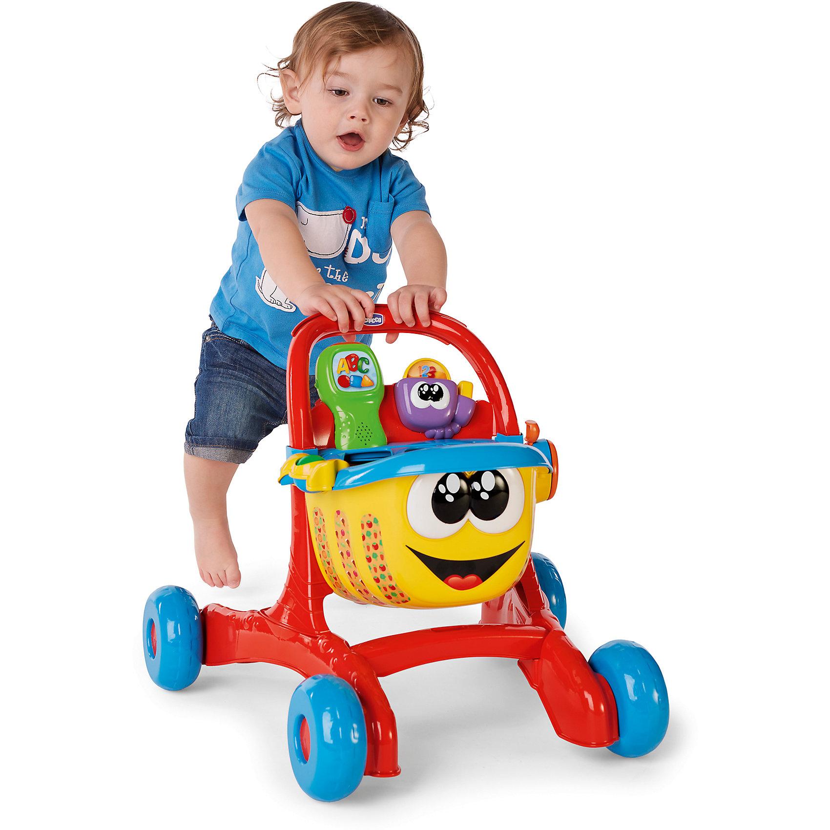 Игровой центр Тележка для покупок (рус/англ), ChiccoИнтерактивные игрушки для малышей<br>Игровой центр Тележка для покупок (рус/англ), Chicco<br><br>Характеристики:<br><br>- в набор входит: Тележка для покупок, элементы питания<br>- состав: пластик<br>- функции: звуковые эффекты<br>- вес тележки: 2,5 кг.<br>- элементы питания: на батарейках (3 шт. ААA)<br>- для детей в возрасте: от 1 до 3 лет <br>- Страна производитель: Китай<br><br>Новая Тележка для покупок из серии Двуязычная обучающая игрушка от известного итальянского бренда товаров для детей Chicco (Чико) придет по вкусу малышам. Тележка поможет малышу ходить, поддерживая его и давая ему надежную опору. В корзине расположен сортер для продуктов в виде треугольника, квадрата и круга. Специальный сканер с кнопками может сканировать продукты корзины, распознавая их и сопровождая сигналами и объяснением форм, цветам, названиям продуктов на английском и русском языках. <br><br>С такой тележкой можно придумать множество веселых и интересных игр. Развивайтесь вместе с тележкой для покупок и новыми играми! Играя с этим центром малыш сможет развивать тактильное, звуковое и цветовое восприятие, сможет развивать память, логическое мышление научиться базовым фразам на двух языках.<br><br>Игровой центр Тележка для покупок (рус/англ), Chicco можно купить в нашем интернет-магазине.<br><br>Ширина мм: 555<br>Глубина мм: 400<br>Высота мм: 192<br>Вес г: 2250<br>Возраст от месяцев: 9<br>Возраст до месяцев: 36<br>Пол: Унисекс<br>Возраст: Детский<br>SKU: 5379347