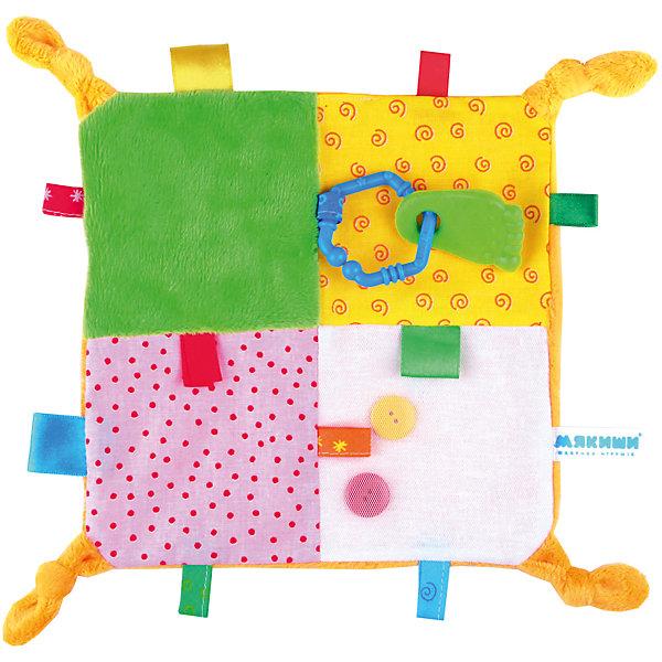 Игрушка-платочек с прорезывателем, МякишиИгрушки для новорожденных<br>Игрушка-платочек с прорезывателем, Мякиши.<br><br>Характеристики:<br><br>- Размер без петелек: 21х21 см.<br>- Материал: хлопок, холлофайбер, резина, пластмасса, меховые полотна<br>- Изготовлено из гипоаллергенных материалов<br><br>Очаровательная красочная игрушка-платочек от компании Мякиши станет первой игрушкой для вашего малыша. Игра с платочком поможет развить мелкую моторику рук крохи, речевые способности и воображение. На платочке есть петельки, узелки, пуговицы, резиновый прорезыватель, который поможет утешить кроху в период роста зубок. Разнообразные фактуры и сочные краски порадуют ребенка. Платочек изготовлен из хлопка, трикотажного полотна и меховых вставок. Оригинальное изделие не имеет толщины и способно принимать форму тела ребёнка, сохраняя ее на длительное время, поэтому платочек идеален для сна. Яркая и милая игрушка непременно вызовет интерес малыша и увлечет его надолго.<br><br>Игрушку-платочек с прорезывателем, Мякиши можно купить в нашем интернет-магазине.<br><br>Ширина мм: 300<br>Глубина мм: 300<br>Высота мм: 15<br>Вес г: 80<br>Возраст от месяцев: 12<br>Возраст до месяцев: 36<br>Пол: Унисекс<br>Возраст: Детский<br>SKU: 5383787