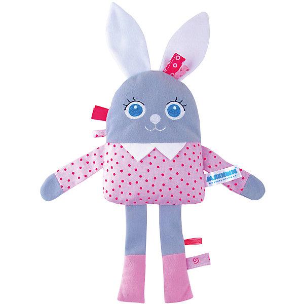 Развивающая игрушка Мой Зайчик, МякишиИгрушки для новорожденных<br>Развивающая игрушка Мой Зайчик, Мякиши.<br><br>Характеристики:<br><br>- Размер: 33х11х35 см.<br>- Материал: х/б ткань, трикотажные полотна, холлофайбер<br>- Изготовлено из гипоаллергенных материалов<br><br>Развивающая игрушка от  Мякиши Мой зайчик подарит вашему малышу чувство теплоты и заботы, ведь ее так приятно обнимать! Она выполнена из текстильных разнофактурных материалов в виде забавного зайчика с вышитыми глазками, носиком и ротиком. Внутри зайчика находится элемент с гремящими при тряске шариками; в животике спрятан шуршащий элемент. Зайчик удивительно приятен на ощупь, малыш с удовольствием будет держать его в ручках и засыпать с ним. Игрушку можно при желании закрепить на корпусе коляски или кроватки. Развивающая игрушка Мой зайчик от Мякиши поможет крохе в развитии зрительного восприятия, мышления, мелкой моторики рук, воображения и эмоционального восприятия.<br><br>Развивающую игрушку Мой Зайчик, Мякиши можно купить в нашем интернет-магазине.<br><br>Ширина мм: 340<br>Глубина мм: 250<br>Высота мм: 50<br>Вес г: 40<br>Возраст от месяцев: 12<br>Возраст до месяцев: 36<br>Пол: Женский<br>Возраст: Детский<br>SKU: 5383788
