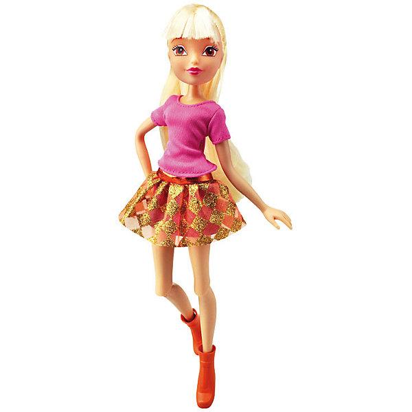 Кукла Городская магия - Стелла, Winx ClubБренды кукол<br>Характеристики товара:<br><br>• возраст: от 3 лет;<br>• материал: пластик, текстиль;<br>• в комплекте: кукла, наряд;<br>• высота куклы: 26 см;<br>• размер упаковки: 35х20х6 см;<br>• вес упаковки: 215 гр.;<br>• страна производитель: Китай.<br><br>Кукла Стелла «Городская магия» Winx Club создана по мотивам известного мультсериала «Клуб Винкс: Школа волшебниц» про очаровательных фей-волшебниц. Стелла — лучшая подруга главной героини Блум, с которой она любит смотреть комедии, устраивать вечеринки и ходить по магазинам.<br><br>У феи выразительные карие глаза и светлые волосы, которые можно расчесывать, заплетать и украшать. Одета Стелла в розовый топ, золотистую юбку и сапожки. У куклы несколько точек артикуляции. Руки сгибаются в локтях и плечах, ноги в бедрах и коленях.<br><br>Куклу Стеллу «Городская магия» Winx Club можно приобрести в нашем интернет-магазине.<br><br>Ширина мм: 190<br>Глубина мм: 320<br>Высота мм: 60<br>Вес г: 256<br>Возраст от месяцев: 36<br>Возраст до месяцев: 2147483647<br>Пол: Женский<br>Возраст: Детский<br>SKU: 5383946