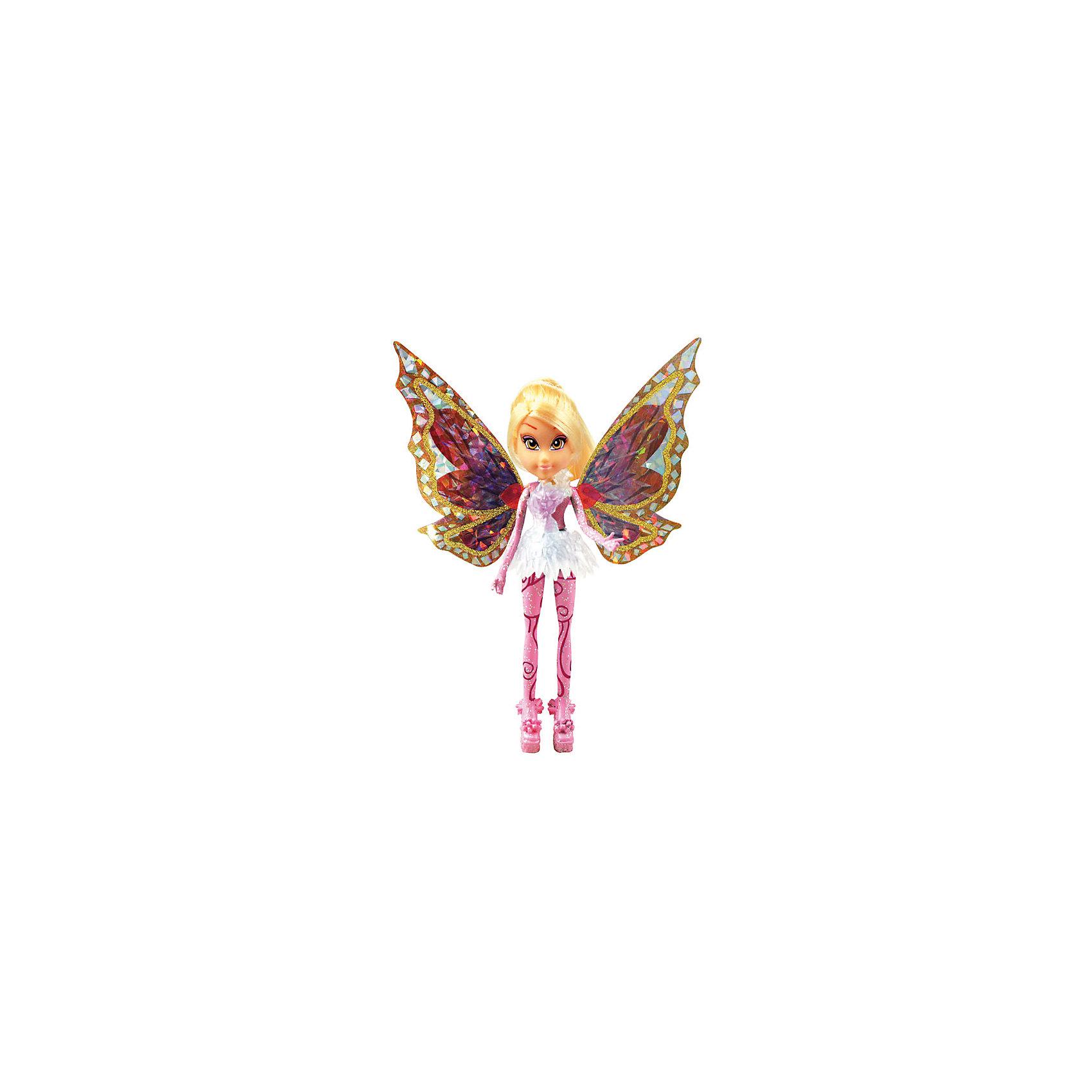 Мини-фигурки Тайникс - Стелла, Winx ClubБренды кукол<br>Характеристики товара:<br><br>• возраст: от 3 лет;<br>• материал: пластик, текстиль;<br>• в комплекте: кукла, платье, крылья, подставка;<br>• высота куклы: 12 см;<br>• размер упаковки: 23х18х6 см;<br>• вес упаковки: 85 гр.;<br>• страна производитель: Китай.<br><br>Мини-фигурка Стелла «Тайникс» Winx Club создана по мотивам известного мультсериала «Клуб Винкс: Школа волшебниц» про очаровательных фей-волшебниц. Стелла — лучшая подруга главной героини Блум, с которой она любит смотреть комедии, устраивать вечеринки и ходить по магазинам.<br><br>При помощи магии Тайникс феи научились уменьшаться в размере, чтобы путешествовать в мини-миры. У феи выразительные карие глаза и светлые волосы. За спиной куклы разноцветные крылышки, которые переливаются и порхают.<br><br>Мини-фигурку Стеллу «Тайникс» Winx Club можно приобрести в нашем интернет-магазине.<br><br>Ширина мм: 80<br>Глубина мм: 210<br>Высота мм: 50<br>Вес г: 120<br>Возраст от месяцев: 36<br>Возраст до месяцев: 2147483647<br>Пол: Женский<br>Возраст: Детский<br>SKU: 5383948