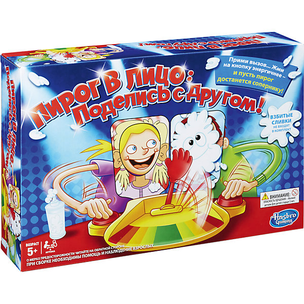 Игра Пирог в лицо (2 участника), HasbroНастольные игры на ловкость<br>Игра Пирог в лицо (2 участника), Hasbro<br><br>Характеристики:<br><br>- в набор входит: игра, губка, инструкция <br>- количество игроков: 2<br>- состав: пластик, картон<br>- размер упаковки: 40 * 8 * 27 см.<br>- вес: 800 гр.<br>- для детей в возрасте: от 5 до 12 лет<br>- Страна производитель: Китай<br><br>Знаменитая настольная игра Пирог в лицо от известного американского бренда товаров для детей Hasbro (Хасбро) приведет ребят в восторг! Небольшая подставка со встроенной легкой катапультой оснащена двумя кнопками, на которые нажимают игроки как можно быстрее, ведь кто больше и быстрее раз нажмет на красную кнопку, тот сможет избежать пирога из катапульты! Цветной индикатор подскажет, кто ближе всего к победе. Две рамки в виде очертаний девочки и мальчика включены в набор, они вставляются с фиксаторами для подбородков в главную подставку. Детали изготовлены из высококачественного пластика и позволяют легко смывать пирог, рамки защищают одежду детей. В качестве пирога рекомендуется использовать взбитые сливки (в набор не входят). <br><br>Легкая, веселая и необычная игра станет отличным развлечением на празднике или в обычный вечер. Примите опасный вызов пирога! Игра развивает моторику рук, реакцию и воображение.<br><br>Игру Пирог в лицо (2 участника), Hasbro можно купить в нашем интернет-магазине.<br>Ширина мм: 81; Глубина мм: 400; Высота мм: 267; Вес г: 1067; Возраст от месяцев: 60; Возраст до месяцев: 120; Пол: Унисекс; Возраст: Детский; SKU: 5385705;