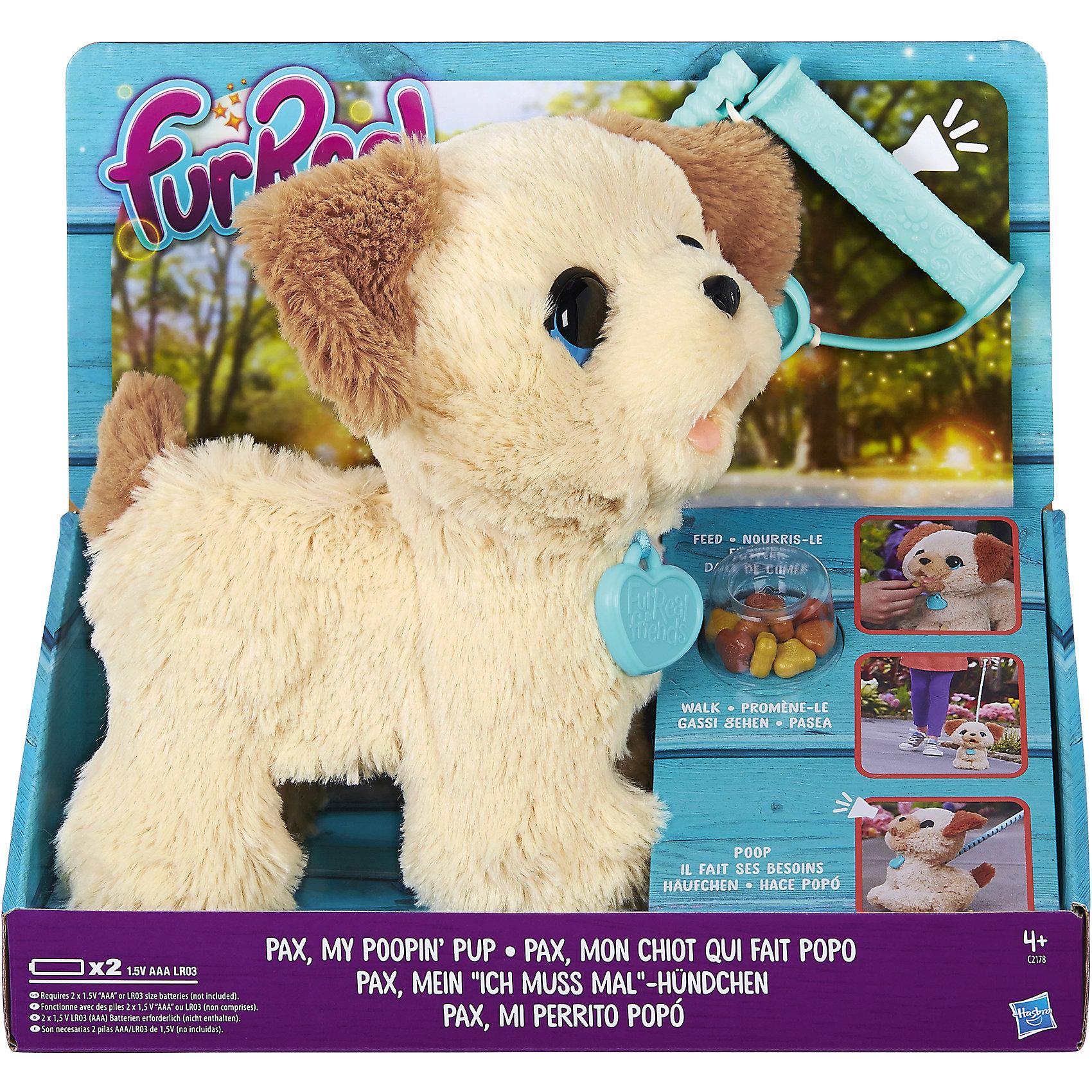 Интерактивная игрушка Веселый щенок Пакс, FurReal FriendsМягкие игрушки животные<br>Интерактивная игрушка Веселый щенок Пакс, FurReal Friends<br><br>Характеристики:<br><br>- в набор входит: щенок, поводок, лакомство, пакетик. <br>- состав: пластик, плюш<br>- элементы питания: 2 батарейки типа ААА<br>- размер упаковки: 24*13*27 см.<br>- для детей в возрасте: от 4 до 12 лет<br>- Страна производитель: Китай<br><br>Знаменитый Веселый щенок Пакс, из серии FurReal Friends от известного американского бренда товаров для детей Hasbro (Хасбро) приведет каждого ребенка в восторг! Бежево-коричневый щенок понравится как девочкам, так и мальчикам. У щенка Пакса необычные выразительные голубые глазки, которые умиляют и привлекают внимание. Щенок покрыт пушистым плюшевым мехом и на ощупь напоминает мягкую игрушку. Щенок умеет кушать лакомство из набора и ходить в туалет.<br><br>В набор входит раскладной пластиковый поводок для настольной и напольной игры, лакомство и пакетик для уборки за щенком. Набор поможет научить детей ответственности и покажет как нужно убирать за собакой. Игра с щенком принесет много радости и веселья, реалистичный дизайн и функции щенка сделают его любимой игрушкой надолго. Отправляйтесь на прогулку вместе со щенком Паксом! <br><br>Интерактивную игрушку Веселый щенок Пакс, FurReal Friends можно купить в нашем интернет-магазине.<br><br>Ширина мм: 133<br>Глубина мм: 267<br>Высота мм: 241<br>Вес г: 599<br>Возраст от месяцев: 48<br>Возраст до месяцев: 120<br>Пол: Женский<br>Возраст: Детский<br>SKU: 5385706