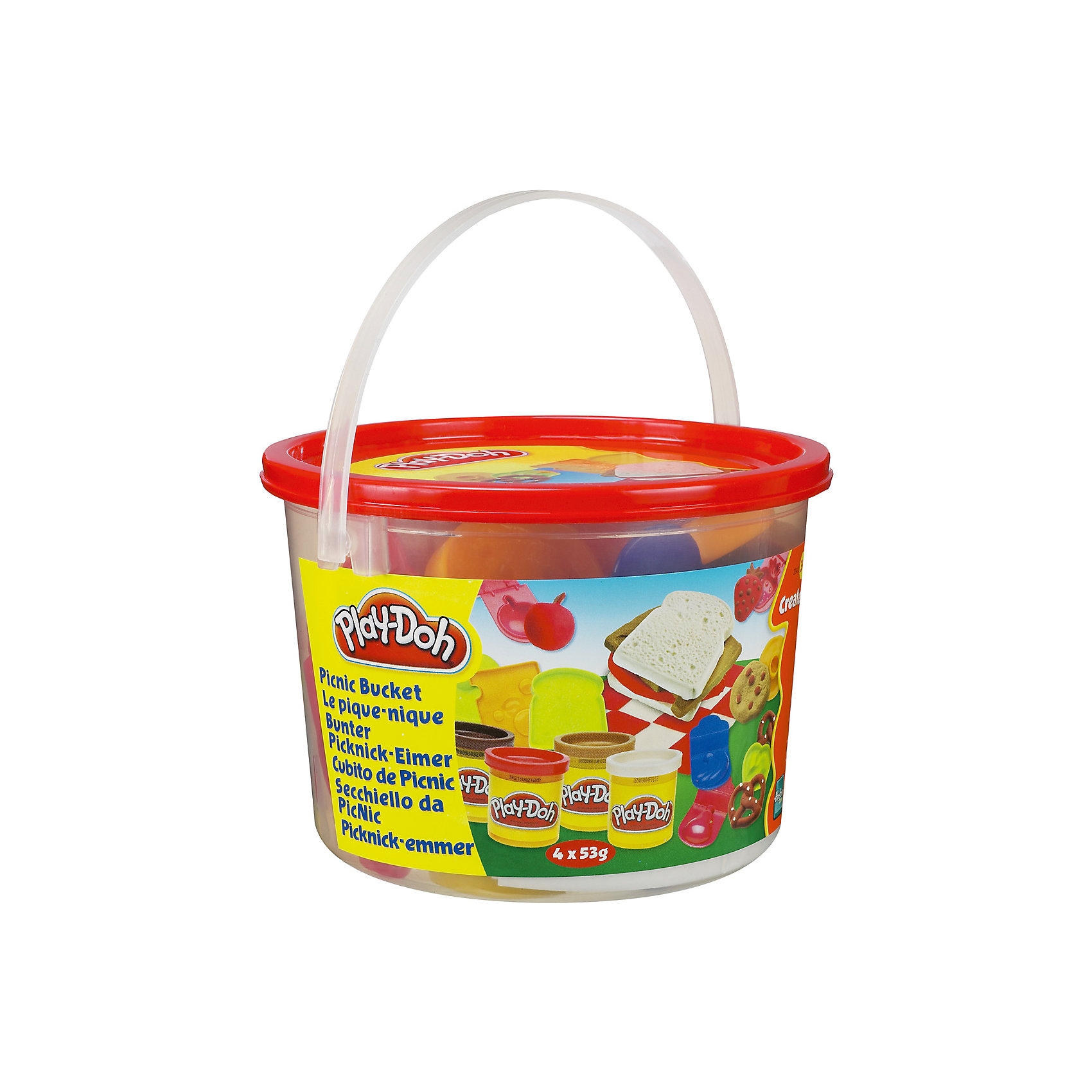 Тематический игровой набор Play-Doh ПикникНаборы для лепки<br>Игровой набор Ведерочко, Play-Doh<br><br>Характеристики:<br><br>- в набор входит: 4 цвета теста, 9 формочек, ведерко<br>- состав: вода, мука, соль, красители<br>- размер упаковки: 14,5 * 10 * 14,5 см.<br>- вес: 226 гр.<br>- для детей в возрасте: от 3 до 6 лет<br>- Страна производитель: Китай<br><br>Тесто для лепки Play-Doh (Плей-До) от известного американского производителя товаров для детей Hasbro (Хасбро) понравится детям, которые знакомятся с лепкой. Мягкое, безопасное, нетоксичное тесто состоит из натуральных компонентов, не прилипает к пальчикам и прекрасно смешивается между собой. Этот набор отличается своей оригинальной тематикой и понравится детишкам интересующимся кухней. <br><br>В удобном для хранения ведерке лежат четыре отдельные закрывающиеся  баночки со светло-коричневым, темно-коричневым, красным и белым тестом. Так же в набор входят разные интересные формочки, такие как: формочка для ветчины или колбасы, формочка хлеба, для печенья, кренделька, сыра, бананов, яблока, клубники и груши. Цвета теста можно легко комбинировать между собой и смешивать, можно купить любое тесто для лепки Play-Doh (Плей-До) и оно сможет смешаться с тестом из набора. <br><br>Не рекомендуется хранить тесто для лепки на открытом воздухе. Работа с тестом для лепки помогает развить моторику ручек, внимание, творческие способности, тактильное и цветовое восприятие, поможет научиться смешивать цвета и добиться аккуратности в работе с формочками. <br><br>Игровой набор Ведерочко, Play-Doh можно купить в нашем интернет-магазине.<br><br>Ширина мм: 145<br>Глубина мм: 145<br>Высота мм: 105<br>Вес г: 372<br>Возраст от месяцев: 36<br>Возраст до месяцев: 120<br>Пол: Унисекс<br>Возраст: Детский<br>SKU: 5385710