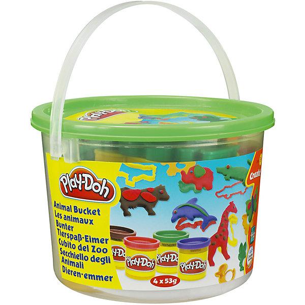 Тематический игровой набор Play-Doh ЖивотныеНаборы для лепки<br>Игровой набор Ведерочко, Play-Doh<br><br>Характеристики:<br><br>- в набор входит: 4 цвета теста, 9 формочек, ведерко<br>- состав: вода, мука, соль, красители<br>- размер упаковки: 14,5 * 10 * 14,5 см.<br>- вес: 226 гр.<br>- для детей в возрасте: от 3 до 6 лет<br>- Страна производитель: Китай<br><br>Тесто для лепки Play-Doh (Плей-До) от известного американского производителя товаров для детей Hasbro (Хасбро) понравится детям, которые знакомятся с лепкой. Мягкое, безопасное, нетоксичное тесто состоит из натуральных компонентов, не прилипает к пальчикам и прекрасно смешивается между собой. Этот набор отличается своей оригинальной тематикой и понравится детишкам интересующимся животными и зоопарком. <br><br>В удобном для хранения ведерке лежат четыре отдельные закрывающиеся  баночки с коричневым, фиолетовым, красным и зеленым тестом. Так же в набор входят разные интересные формочки, такие как: коровка, жираф, крокодил, лошадка, бабочка, дельфин, уточка, слон и зайчик. Вы можете декорировать животных, добавляя им пятнышки, узоры и глазки. Цвета теста можно легко комбинировать между собой и смешивать, можно купить любое тесто для лепки Play-Doh (Плей-До) и оно сможет смешаться с тестом из набора. <br><br>Не рекомендуется хранить тесто для лепки на открытом воздухе. Работа с тестом для лепки помогает развить моторику ручек, внимание, творческие способности, тактильное и цветовое восприятие, поможет научиться смешивать цвета и добиться аккуратности в работе с формочками. <br><br>Игровой набор Ведерочко, Play-Doh можно купить в нашем интернет-магазине.<br>Ширина мм: 145; Глубина мм: 145; Высота мм: 105; Вес г: 372; Возраст от месяцев: 36; Возраст до месяцев: 120; Пол: Унисекс; Возраст: Детский; SKU: 5385711;
