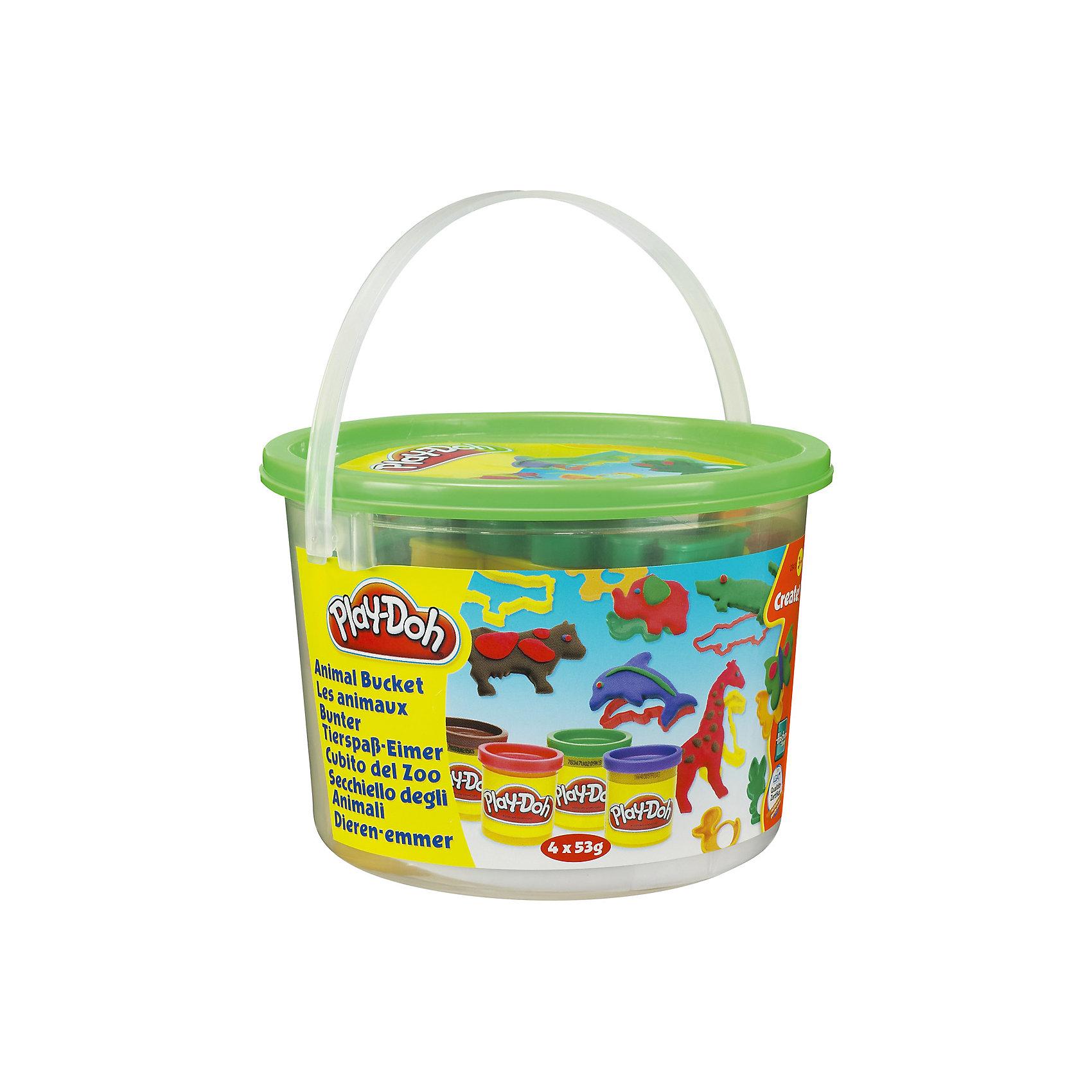 Тематический игровой набор Play-Doh ЖивотныеИгровой набор Ведерочко, Play-Doh<br><br>Характеристики:<br><br>- в набор входит: 4 цвета теста, 9 формочек, ведерко<br>- состав: вода, мука, соль, красители<br>- размер упаковки: 14,5 * 10 * 14,5 см.<br>- вес: 226 гр.<br>- для детей в возрасте: от 3 до 6 лет<br>- Страна производитель: Китай<br><br>Тесто для лепки Play-Doh (Плей-До) от известного американского производителя товаров для детей Hasbro (Хасбро) понравится детям, которые знакомятся с лепкой. Мягкое, безопасное, нетоксичное тесто состоит из натуральных компонентов, не прилипает к пальчикам и прекрасно смешивается между собой. Этот набор отличается своей оригинальной тематикой и понравится детишкам интересующимся животными и зоопарком. <br><br>В удобном для хранения ведерке лежат четыре отдельные закрывающиеся  баночки с коричневым, фиолетовым, красным и зеленым тестом. Так же в набор входят разные интересные формочки, такие как: коровка, жираф, крокодил, лошадка, бабочка, дельфин, уточка, слон и зайчик. Вы можете декорировать животных, добавляя им пятнышки, узоры и глазки. Цвета теста можно легко комбинировать между собой и смешивать, можно купить любое тесто для лепки Play-Doh (Плей-До) и оно сможет смешаться с тестом из набора. <br><br>Не рекомендуется хранить тесто для лепки на открытом воздухе. Работа с тестом для лепки помогает развить моторику ручек, внимание, творческие способности, тактильное и цветовое восприятие, поможет научиться смешивать цвета и добиться аккуратности в работе с формочками. <br><br>Игровой набор Ведерочко, Play-Doh можно купить в нашем интернет-магазине.<br><br>Ширина мм: 145<br>Глубина мм: 145<br>Высота мм: 105<br>Вес г: 372<br>Возраст от месяцев: 36<br>Возраст до месяцев: 120<br>Пол: Унисекс<br>Возраст: Детский<br>SKU: 5385711