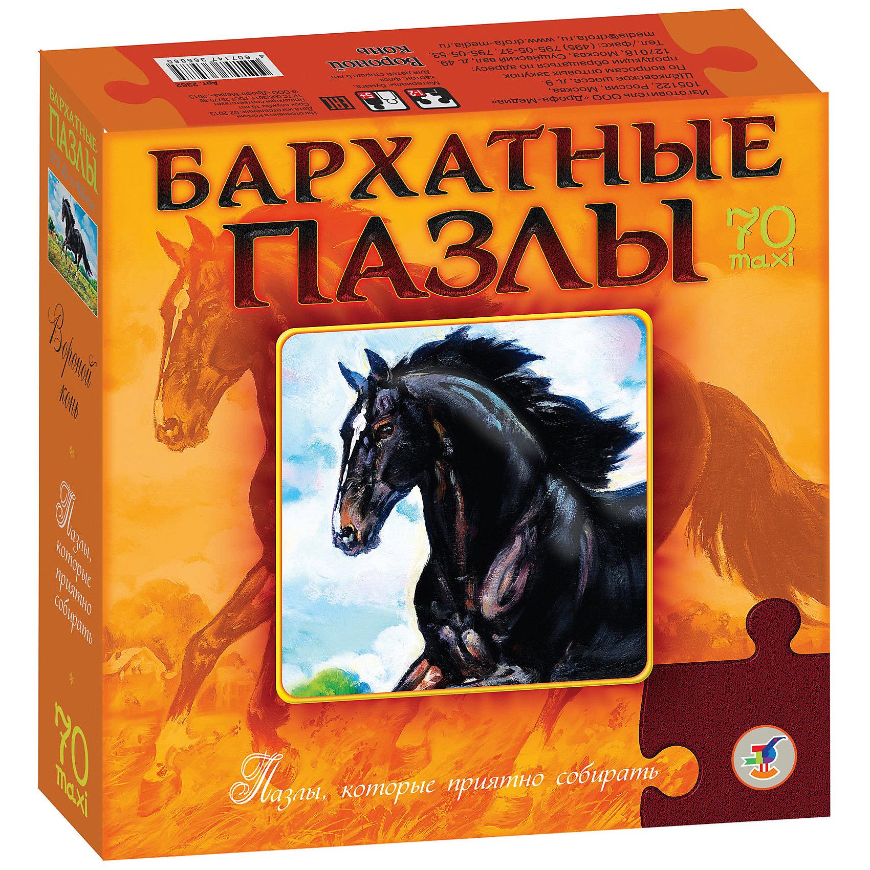 Бархатный пазл Вороной конь, черный, Дрофа-МедиаХарактеристики  пазла Бархатный Вороной конь:<br><br>- возраст: от 5 лет<br>- пол: для мальчиков и девочек<br>- материал: бархат, картон.<br>- размер упаковки: 22 * 22 * 5 см.<br>- упаковка: картонная коробка.<br>- размер собранного пазла: 43 * 27.5 см.<br>- бренд: Дрофа-Медиа<br>- страна обладатель бренда: Россия.<br><br>Бархатный пазл Вороной конь обязательно понравится всем любителем такого замечательного и благородного животного как лошадь. Производитель Дрофа-Медиа предлагает собрать картинку и любоваться изображением прекрасного черного коня. Материал, из которого выполнен пазл, придает картинке еще большую роскошь.<br><br>Бархатный пазл Вороной конь издательства Дрофа-Медиа  можно купить в нашем интернет-магазине.<br><br>Ширина мм: 220<br>Глубина мм: 50<br>Высота мм: 220<br>Вес г: 270<br>Возраст от месяцев: 60<br>Возраст до месяцев: 2147483647<br>Пол: Унисекс<br>Возраст: Детский<br>Количество деталей: 70<br>SKU: 5386274