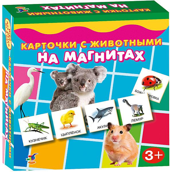 Карточки с животными на магнитах, Дрофа-МедиаОбучающие карточки<br>Характеристики карточек с животными на магнитах:<br><br>- возраст: от 3 лет<br>- пол: для мальчиков и девочек<br>- комплект: 96 карточек.<br>- материал: картон, бумага, магнит.<br>- размер упаковки: 18 * 18.2* 3.8 см.<br>- упаковка: картонная коробка.<br>- бренд: Дрофа-Медиа<br>- страна обладатель бренда: Россия.<br><br>В набор входят девяносто шесть отдельных карточек с прикрепленными магнитами, на которых изображены различные животные. Эти карточки помогут ребенку познакомиться со многими представителями фауны, запомнить их названия. Пока ребенок будет рассматривать цветные картинки, родители могут объяснить ему разницу между домашними и дикими животными, о различии в их классификации (хищники, грызуны, травоядные и т.д), а также об их среде обитания.<br><br>Карточки с животными на магнитах издательства Дрофа-Медиа можно купить в нашем интернет-магазине.<br>Ширина мм: 180; Глубина мм: 40; Высота мм: 180; Вес г: 170; Возраст от месяцев: 36; Возраст до месяцев: 2147483647; Пол: Унисекс; Возраст: Детский; SKU: 5386280;