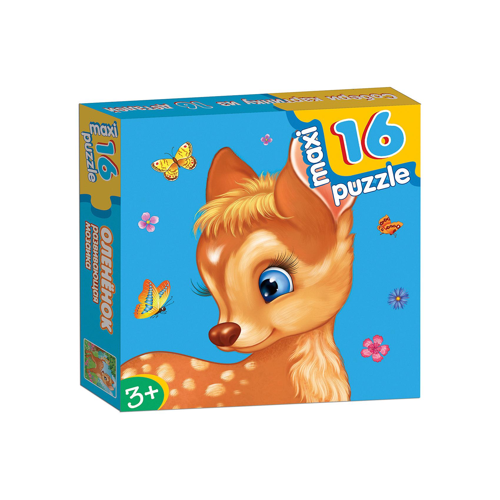 Развивающая мозаика Олененок, Дрофа-МедиаХарактеристики развивающей мозаики Олененок:<br><br>- возраст: от 3 лет<br>- пол: для мальчиков и девочек<br>- количество деталей: 16.<br>- материал: картон.<br>- размер упаковки: 16.5 * 16.5 * 3 см.<br>- размер игрушки: 31 * 33 см.<br>- упаковка: картонная коробка.<br>- бренд: Дрофа-Медиа<br>- страна обладатель бренда: Россия.<br><br>Развивающая мозаика Олененок - макси-пазл для самых маленьких. Чтобы собрать картинку целиком, малышу нужно правильно подбирать элементы пазла. Когда все деталь мозаики соединятся между собой, получится красивое изображение олененка. Макси-пазлы направлены на развитие внимательности, усидчивости и памяти у малышей. Ребенок научится самостоятельно складывать изображение из нескольких деталей, подбирая недостающий фрагмент изображения.<br><br>Развивающую мозаику Олененок издательства Дрофа-Медиа можно купить в нашем интернет-магазине.<br><br>Ширина мм: 165<br>Глубина мм: 30<br>Высота мм: 165<br>Вес г: 170<br>Возраст от месяцев: 36<br>Возраст до месяцев: 2147483647<br>Пол: Унисекс<br>Возраст: Детский<br>SKU: 5386297