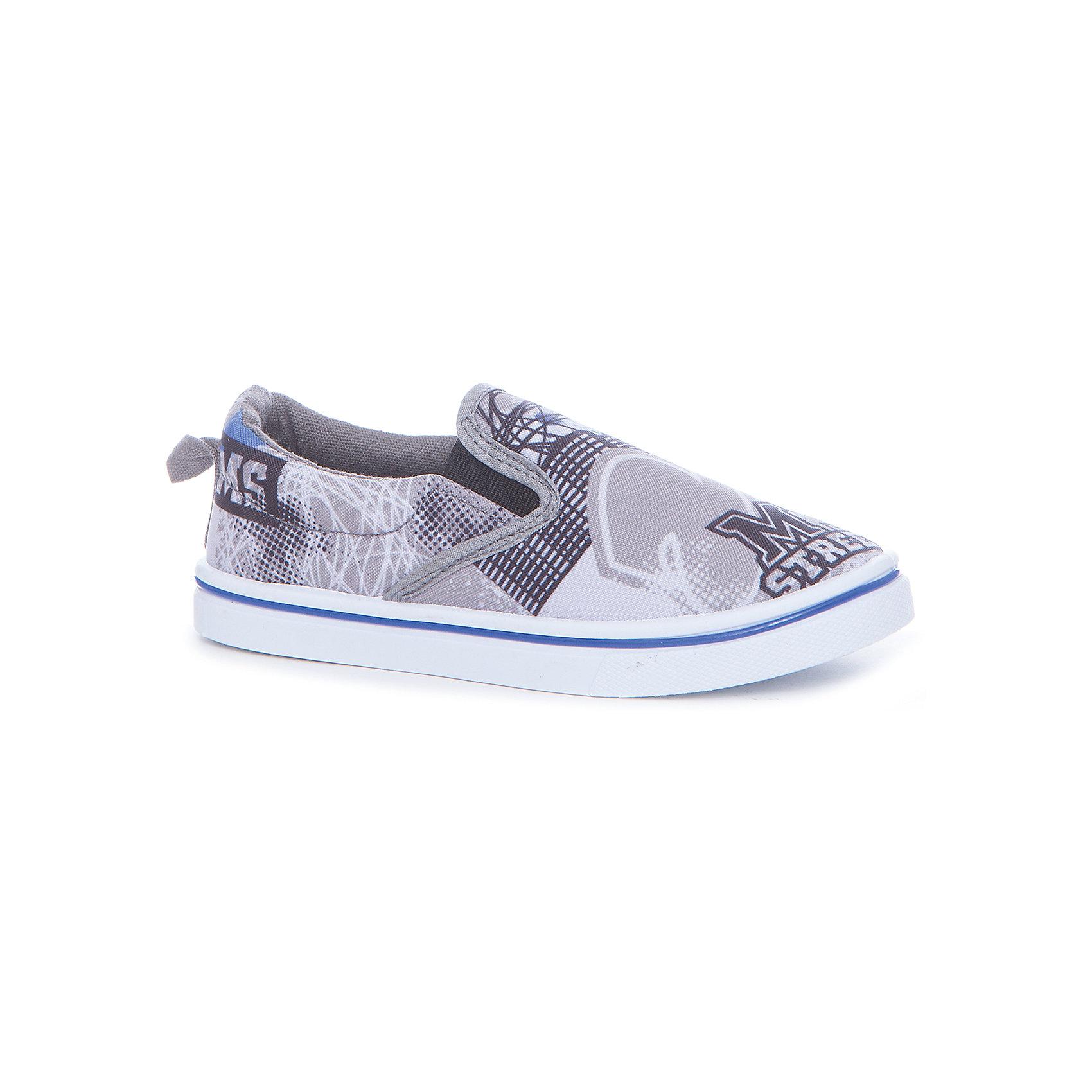 Слипоны для мальчика KAKADUХарактеристики:<br><br>• цвет: серый принт<br>• внешний материал: 100% текстиль<br>• внутренний материал: текстиль<br>• стелька: хлопок<br>• подошва: ПВХ<br>• высота подошвы: 1,5 см<br>• съёмная стелька<br>• эластичные вставки для удобства надевания<br>• тип обуви: кеды<br>• сезон: лето<br>• тип подошвы: рифлёная<br>• тип застежки: без застежки<br>• способ крепления подошвы: литая<br>• уход: удаление загрязнений мягкой щеткой<br>• страна бренда: Россия<br>• страна производства: Китай<br><br>Туфли для мальчика KAKADU от Сrossway – это обувь, которая характеризуется высокими качественными и потребительскими характеристиками: прочная, удобная и при этом модная, и яркая! Туфли предназначены для летних прогулок. Они выполнены с учетом анатомических особенностей детской стопы. <br><br>Верх изделия – из текстиля, который обладает высокой воздухопроницаемостью и гигроскопичностью, внутренняя часть и съемная стелька изготовлены из хлопка. Подошва выполнена из поливинилхлорида, который особенно устойчив к истиранию. <br><br>По бокам имеются эластичные вставки, которые обеспечивают хорошую посадку по ноге и легкое обувание. Кеды имеют классическую форму и стильный дизайн: выполнены в модном цвете и декорированы ярким принтом из надписей в стиле Граффити.<br><br>Туфли для мальчика KAKADU можно купить в нашем интернет-магазине.<br><br>Ширина мм: 227<br>Глубина мм: 145<br>Высота мм: 124<br>Вес г: 325<br>Цвет: серый<br>Возраст от месяцев: 84<br>Возраст до месяцев: 96<br>Пол: Мужской<br>Возраст: Детский<br>Размер: 31,36,32,33,34,35<br>SKU: 5386419