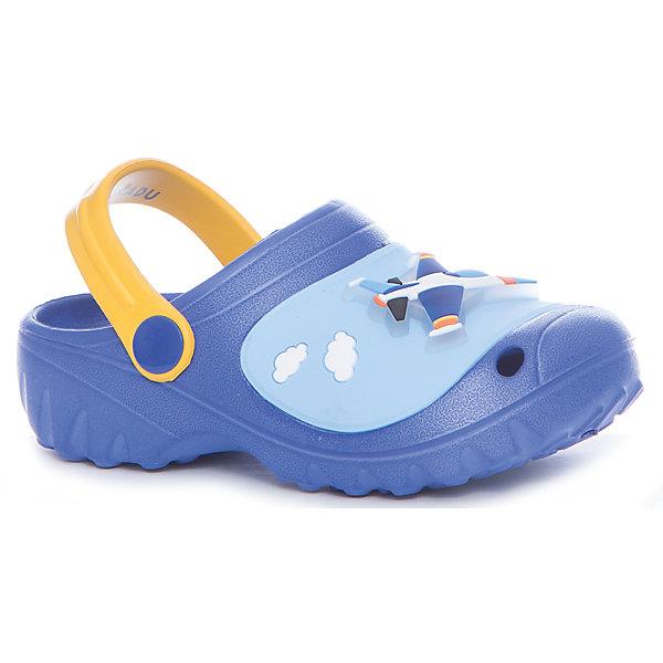 Шлёпанцы пляжные для мальчика KAKADUПляжная обувь<br>Характеристики:<br><br>• цвет: синий<br>• внешний материал: ПВХ, ЭВА<br>• внутренний материал: ПВХ, ЭВА<br>• стелька: без стельки<br>• Подошва: ПВХ, ЭВА<br>• высота подошвы: 1,5 см<br>• шлёпанцы со светодиодами в декортивных элементах<br>• назначение обуви: для пляжа<br>• сезон: лето<br>• тип подошвы: рифлёная<br>• уход: удаление загрязнений мягкой щеткой<br><br>Туфли для девочки KAKADU от Сrossway – это обувь, которая характеризуется высокими качественными и потребительскими характеристиками: прочная, удобная и при этом модная, и яркая! Туфли предназначены для пляжа или для бассейна. Они выполнены с учетом анатомических особенностей детской стопы. <br><br>Верх изделия – из сочетания экологически безопасных и гипоаллергенных материалов – этиленвинилацетата и поливинилхлорида. Подошва выполнена из этиленвинилацетата, который обладает высокими амортизирующими и противоскользящими свойствами. <br><br>Шлепки имеют классическую форму, сзади для пяточек предусмотрены широкие ремешки, которые обеспечивают фиксацию на ножках. Обуви выполнена в ярком дизайне: декоративные элементы в виде кексов и бабочек дополнены мигающим светодиодным элементом. <br><br>Шлёпанцы для мальчика KAKADU можно купить в нашем интернет-магазине.<br><br>Ширина мм: 227<br>Глубина мм: 145<br>Высота мм: 124<br>Вес г: 325<br>Цвет: синий<br>Возраст от месяцев: 72<br>Возраст до месяцев: 84<br>Пол: Мужской<br>Возраст: Детский<br>Размер: 30,27,31,29,28<br>SKU: 5386482