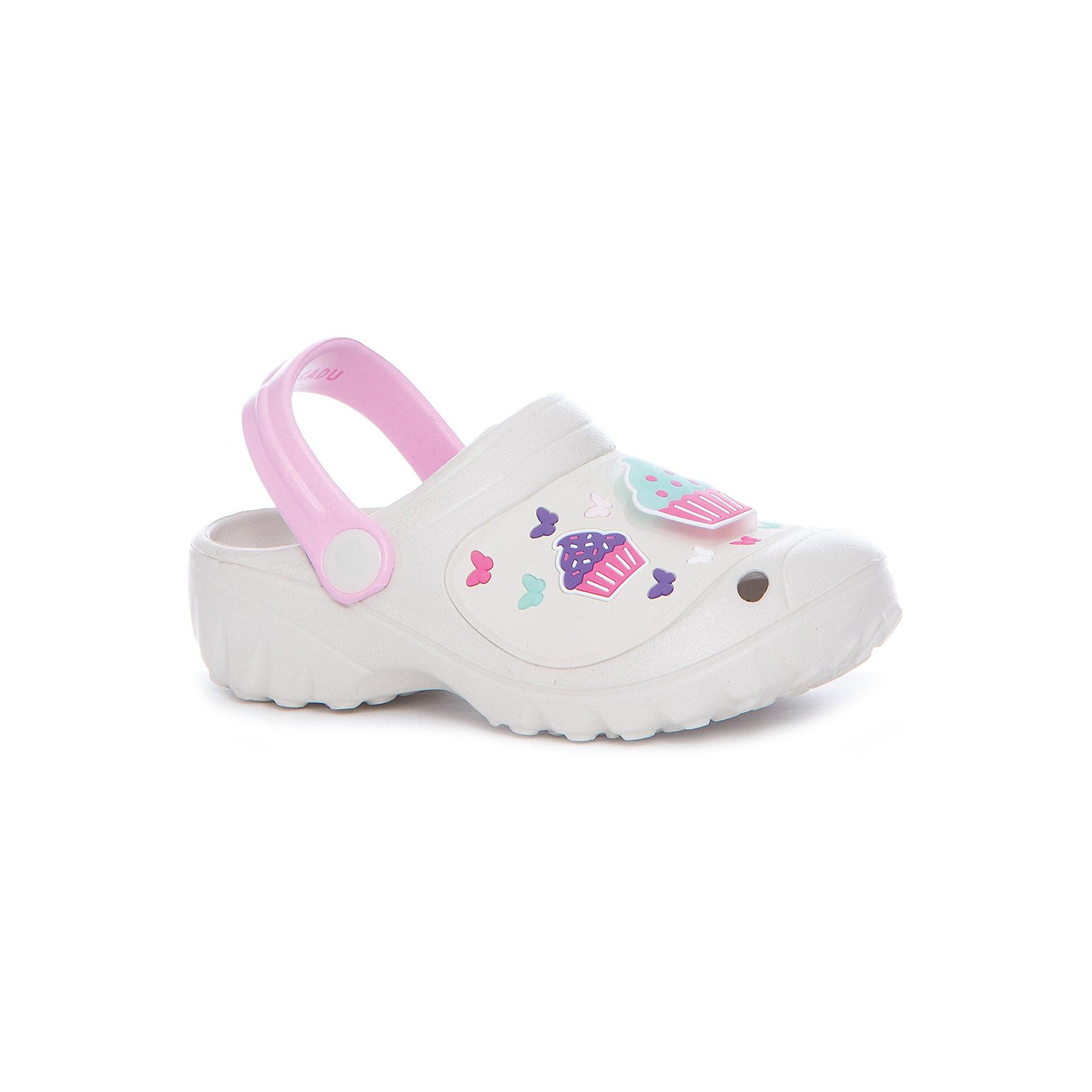 Сабо для девочки KAKADUПляжная обувь<br>Характеристики:<br><br>• цвет: белый<br>• внешний материал: ПВХ, ЭВА<br>• внутренний материал: ПВХ, ЭВА<br>• стелька: без стельки<br>• Подошва: ПВХ, ЭВА<br>• высота подошвы: 1,5 см<br>• шлёпанцы со светодиодами в декортивных элементах<br>• назначение обуви: для пляжа<br>• сезон: лето<br>• тип подошвы: рифлёная<br>• уход: удаление загрязнений мягкой щеткой<br><br>Туфли для девочки KAKADU от Сrossway – это обувь, которая характеризуется высокими качественными и потребительскими характеристиками: прочная, удобная и при этом модная, и яркая! Туфли предназначены для пляжа или для бассейна. Они выполнены с учетом анатомических особенностей детской стопы. <br><br>Верх изделия – из сочетания экологически безопасных и гипоаллергенных материалов – этиленвинилацетата и поливинилхлорида. Подошва выполнена из этиленвинилацетата, который обладает высокими амортизирующими и противоскользящими свойствами. <br><br>Шлепки имеют классическую форму, сзади для пяточек предусмотрены широкие ремешки, которые обеспечивают фиксацию на ножках. Обуви выполнена в ярком дизайне: декоративные элементы в виде кексов и бабочек дополнены мигающим светодиодным элементом. <br><br>Шлёпанцы для мальчика KAKADU можно купить в нашем интернет-магазине.<br><br>Ширина мм: 227<br>Глубина мм: 145<br>Высота мм: 124<br>Вес г: 325<br>Цвет: серый<br>Возраст от месяцев: 84<br>Возраст до месяцев: 96<br>Пол: Женский<br>Возраст: Детский<br>Размер: 31,27,28,29,30<br>SKU: 5386488