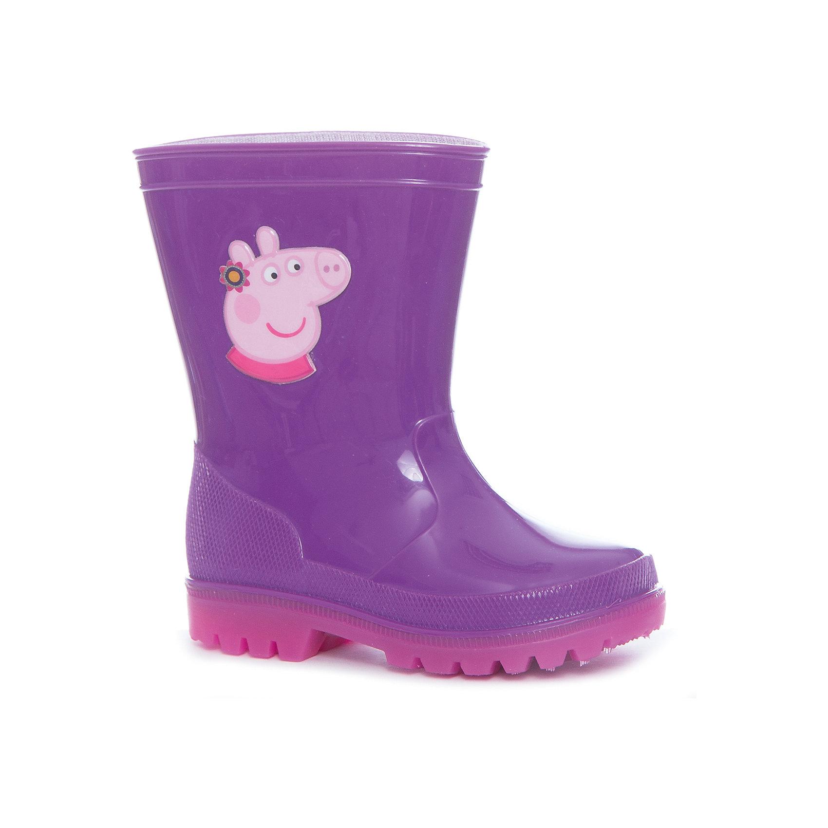 Резиновые сапоги Peppa Pig  для девочки KAKADU со светодиодами, сиреневыеРезиновые сапоги<br>Характеристики товара:<br><br>• цвет: сиреневый<br>• принт: Свинка Пеппа<br>• внешний материал обуви: ПВХ<br>• внутренний материал: текстиль, хлопок<br>• подошва: рефленая, со светодиодами<br>• вид обуви: непромокаемая<br>• сезон: весна-лето<br>• температурный режим: от +10°до +20°С<br>• страна бренда: Россия<br>• страна изготовитель: Китай<br><br>Светящиеся резиновые сапоги для девочек Peppa Pig выполнены из прочного непромокаемого материала. <br><br>Подкладка и стельки из натурального гипоаллергенного хлопка создают благоприятный микроклимат внутри обуви. <br><br>Светящиеся резиновые сапоги для девочки Свинка Пеппа украшены красочным изображением любимой мультгероини. Светодиоды работают от встроенного одноразового аккумулятора, работы которого хватит примерно на полгода активной ежедневной носки.<br><br>Резиновые сапоги Peppa Pig  для девочки KAKADU со светодиодами, сиреневые можно купить в нашем интернет-магазине.<br><br>Ширина мм: 257<br>Глубина мм: 180<br>Высота мм: 130<br>Вес г: 420<br>Цвет: лиловый<br>Возраст от месяцев: 72<br>Возраст до месяцев: 84<br>Пол: Женский<br>Возраст: Детский<br>Размер: 30,24,25,26,27,28,29<br>SKU: 5386613