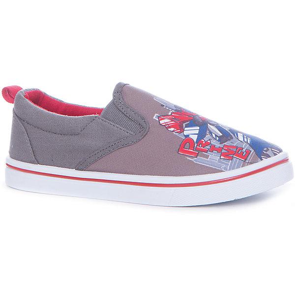 Слипоны для мальчика KAKADUТекстильные туфли<br>Характеристики:<br><br>• цвет: серый<br>• внешний материал: 100% текстиль<br>• внутренний материал: текстиль<br>• стелька: хлопок<br>• подошва: ПВХ<br>• высота подошвы: 1 см<br>• съёмная стелька<br>• эластичный вставки для удобства надевания<br>• тип обуви: слипоны<br>• сезон: лето<br>• тематика рисунка: Трансформеры<br>• тип подошвы: рифлёная<br>• тип застежки: без застежки<br>• способ крепления подошвы: литая<br>• уход: удаление загрязнений мягкой щеткой<br>• страна бренда: Россия<br>• страна изготовитель: Китай<br><br>Туфли для мальчика KAKADU от Сrossway – это обувь, которая характеризуется высокими качественными и потребительскими характеристиками: прочная, удобная и при этом модная, и яркая! <br><br>Туфли предназначены для летних прогулок. Они выполнены с учетом анатомических особенностей детской стопы. Верх изделия – из текстиля, который обладает высокой воздухопроницаемостью и гигроскопичностью, внутренняя часть и съемная стелька изготовлены из хлопка. <br><br>Подошва выполнена из поливинилхлорида, который особенно устойчив к истиранию. По бокам имеются эластичные вставки, которые обеспечивают хорошую посадку по ноге и легкое обувание. Кеды имеют классическую форму и стильный дизайн: выполнены в модном цвете и декорированы ярким принтом с изображением робота Оптимуса Прайма.<br><br>Туфли для мальчика KAKADU можно купить в нашем интернет-магазине.<br>Ширина мм: 227; Глубина мм: 145; Высота мм: 124; Вес г: 325; Цвет: серый; Возраст от месяцев: 84; Возраст до месяцев: 96; Пол: Мужской; Возраст: Детский; Размер: 31,36,35,34,33,32; SKU: 5386699;