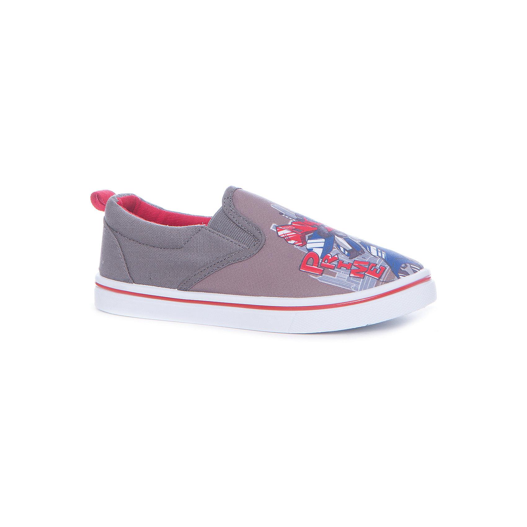 Слипоны для мальчика KAKADUТекстильные туфли<br>Характеристики:<br><br>• цвет: серый<br>• внешний материал: 100% текстиль<br>• внутренний материал: текстиль<br>• стелька: хлопок<br>• подошва: ПВХ<br>• высота подошвы: 1 см<br>• съёмная стелька<br>• эластичный вставки для удобства надевания<br>• тип обуви: слипоны<br>• сезон: лето<br>• тематика рисунка: Трансформеры<br>• тип подошвы: рифлёная<br>• тип застежки: без застежки<br>• способ крепления подошвы: литая<br>• уход: удаление загрязнений мягкой щеткой<br>• страна бренда: Россия<br>• страна изготовитель: Китай<br><br>Туфли для мальчика KAKADU от Сrossway – это обувь, которая характеризуется высокими качественными и потребительскими характеристиками: прочная, удобная и при этом модная, и яркая! <br><br>Туфли предназначены для летних прогулок. Они выполнены с учетом анатомических особенностей детской стопы. Верх изделия – из текстиля, который обладает высокой воздухопроницаемостью и гигроскопичностью, внутренняя часть и съемная стелька изготовлены из хлопка. <br><br>Подошва выполнена из поливинилхлорида, который особенно устойчив к истиранию. По бокам имеются эластичные вставки, которые обеспечивают хорошую посадку по ноге и легкое обувание. Кеды имеют классическую форму и стильный дизайн: выполнены в модном цвете и декорированы ярким принтом с изображением робота Оптимуса Прайма.<br><br>Туфли для мальчика KAKADU можно купить в нашем интернет-магазине.<br><br>Ширина мм: 227<br>Глубина мм: 145<br>Высота мм: 124<br>Вес г: 325<br>Цвет: серый<br>Возраст от месяцев: 144<br>Возраст до месяцев: 156<br>Пол: Мужской<br>Возраст: Детский<br>Размер: 36,31,32,33,34,35<br>SKU: 5386699