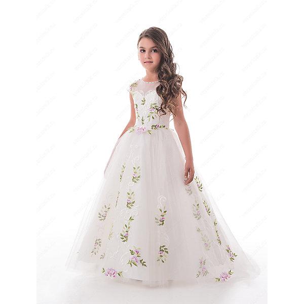 Платье нарядное для девочки ПрестижОдежда<br>Характеристики:<br><br>• Вид детской и подростковой одежды: платье<br>• Предназначение: праздничная<br>• Платье подходит для занятий бальными танцами.<br>• Коллекция: Trinity bride<br>• Сезон: круглый год<br>• Тематика рисунка: цветы<br>• Цвет: молочный<br>• Материал: 100% полиэстер<br>• Силуэт: А-силуэт, пышный<br>• Юбка: солнце<br>• Рукав: без рукава<br>• Вырез горловины: круглый<br>• Длина платья: длинное со шлейфом<br>• Застежка: молния на спинке и шнуровка у корсета<br>• Особенности ухода: ручная стирка при температуре не более 30 градусов<br><br>Платье нарядное для девочки Престиж от отечественного производителя праздничной одежды и аксессуаров как для взрослых, так и для детей. Изделие выполнено из 100% полиэстера, который обладает легкостью, прочностью, устойчивостью к износу и пятнам. Платье отрезное по талии, имеет классический А-силуэт и круглую горловину. Верх платья, представляющий собой корсет, имеет застежку-молнию и шнуровку на спинке, что обеспечивает хорошую посадку платья по фигуре. <br><br>Классический стиль платья дополнен эффектными деталями и декором. Вышитый цветными нитками цветочный орнамент, украшающий переднюю полочку и пояс, придают изделию особую изысканность, цветочные элементы повторяются и на длинной пышной юбке. Стразы, украшающие горловину, создают эффект мягкого мерцания и законченности торжественного образа. <br>Платье нарядное для девочки Престиж – это неповторимый стиль вашей девочки на любом торжестве!<br><br>Платье нарядное для девочки Престиж можно купить в нашем интернет-магазине.<br><br>Ширина мм: 236<br>Глубина мм: 16<br>Высота мм: 184<br>Вес г: 177<br>Цвет: белый<br>Возраст от месяцев: 60<br>Возраст до месяцев: 72<br>Пол: Женский<br>Возраст: Детский<br>Размер: 116,128,122<br>SKU: 5387737