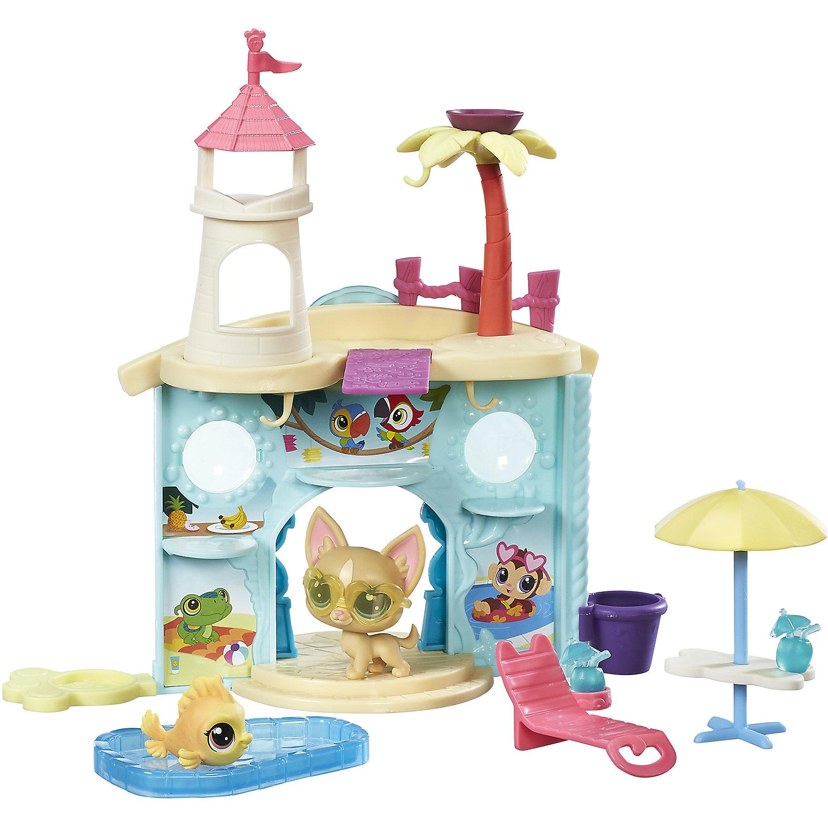 Набор Дисплей для питомцев, Littlest Pet Shop, B9344/C0042Игрушки<br>Набор Дисплей для питомцев, Littlest Pet Shop, B9344/C0042<br><br>Характеристики:<br><br>- в набор входит: аквапарк-дисплей, шезлонг, столик с зонтиком, бассейн, 2 питомца<br>- состав: пластик<br>- для детей в возрасте: от 4 до 10 лет<br>- Страна производитель: Китай<br><br>Знаменитые питомцы Littlest Pet Shop (Литтлест Пэт Шоп) от известного американского бренда товаров для детей Hasbro (Хасбро) получили новый набор с аквапарком! Двухсторонний аквапарк несмотря на свою компактность вмещает все необходимое для отличной игры. Красивый вход украшен ступеням и рельефными декорациями стен, на крыше расположена башенка и пальма. <br><br>В самом аквапарке расположены места для питомцев, имеются изображения тропических животных и фруктов. На крыше расположена доска для прыжков в воду, в набор включен шезлонг, столик с зонтом от солнца, бассейн и коктейль. Главные отдыхающие в этом аквапарке – Чихуахуа в стильных очках (в каталоге питомцев №92) и золотая рыбка (в каталоге № 54). Проведите замечательный день в аквапарке Littlest Pet Shop (Литтлест Пэт Шоп). <br><br>Набор отлично подойдет как для игры дома, так и для игр в поездке. Все детали изготовлены из высококачественного пластика. Играя с этим набором ребенок сможет развивать социальные навыки, развивать воображение и творческие способности. <br><br>Набор Дисплей для питомцев, Littlest Pet Shop, B9344/C0042 можно купить в нашем интернет-магазине.<br><br>Ширина мм: 51<br>Глубина мм: 279<br>Высота мм: 203<br>Вес г: 373<br>Возраст от месяцев: 48<br>Возраст до месяцев: 120<br>Пол: Женский<br>Возраст: Детский<br>SKU: 5388369