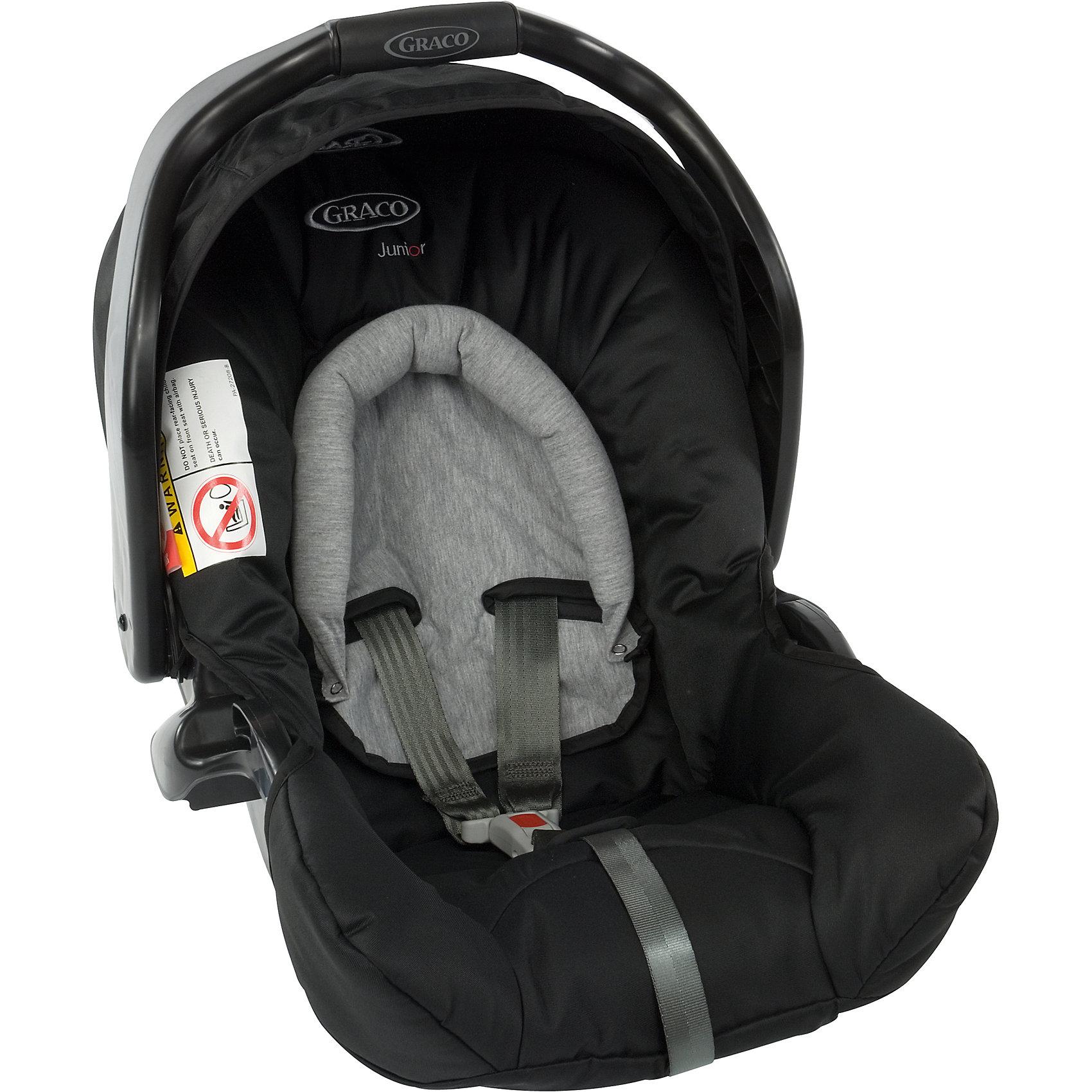 Автокресло Graco Junior Baby Sport Luxe 0-13 кг,Группа 0+ (До 13 кг)<br>Характеристики:<br><br>• группа: 0+<br>• вес ребенка: до 13 кг;<br>• возраст ребенка: от рождения до 12 месяцев;<br>• способ крепления: штатным ремнем безопасности автомобиля;<br>• способ установки: лицом против хода движения автомобиля;<br>• имеется анатомический вкладыш для новорожденного;<br>• материал: пластик, полиэстер;<br>• размеры автокресла: 44х66х46 см;<br>• вес: 3,9 кг.<br><br>Автокресло Junior Baby Sport Luxe представляет собой автолюльку для путешествий с новорожденными детками в автомобиле. Автокресло оснащено 3-х точечными ремнями безопасности с мягкими накладками. Имеется пластиковая ручка для переноски автокресла, положение регулируется. Защитный капор регулируется, его можно поднимать и опускать. Дополнительная система защиты от боковых ударов представляет собой высокие защитные бортики внутри и пластиковые борты снаружи автокресла. Входящий в комплект чехол автокресла можно стирать при температуре 30 градусов.<br><br>Автокресло совместимо с прогулочными колясками Graco Evo, Graco Evo XT и Metro, Graco Evo Avant, Blox, FastAction Fold Sport, Mirage, Mosaic, Quattro Tour Duo, Stadium Duo.<br><br>Автокресло Junior Baby Sport Luxe 0-13 кг, Graco можно купить в нашем интернет-магазине.<br><br>Ширина мм: 430<br>Глубина мм: 360<br>Высота мм: 700<br>Вес г: 4753<br>Возраст от месяцев: 0<br>Возраст до месяцев: 12<br>Пол: Унисекс<br>Возраст: Детский<br>SKU: 5388611