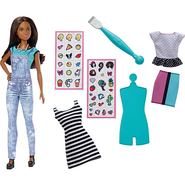 Игровой набор «EMOJI», BarbieПопулярные игрушки<br>Характеристики товара:<br><br>• комплектация: кукла, одежда, аксессуары, наклейки<br>• материал: пластик, текстиль<br>• серия: EMOJI<br>• руки, ноги гнутся<br>• высота куклы: 29 см<br>• возраст: от трех лет<br>• размер упаковки: 23x6x33 см<br>• вес: 0,3 кг<br>• страна бренда: США<br><br>Невероятно модный образ куклы порадует маленьких любительниц стильных и необычных нарядов. Стильный наряд куклы дополняет дополнительный набор одежды. обувь и аксессуары. Длинные волосы позволяют делать разнообразные прически! С помощью наклеек из набора одежду можно украшать разными принтами. Игровой набор «EMOJI» станет великолепным подарком для девочек, которые следят за модными тенденциями.<br><br>Такие куклы помогают развить у девочек вкус и чувство стиля, отработать сценарии поведения в обществе, развить воображение и мелкую моторику. Барби от бренда Mattel не перестает быть популярной! <br><br>Игровой набор «EMOJI», Barbie, от компании Mattel можно купить в нашем интернет-магазине.<br><br>Ширина мм: 230<br>Глубина мм: 60<br>Высота мм: 330<br>Вес г: 281<br>Возраст от месяцев: 60<br>Возраст до месяцев: 120<br>Пол: Женский<br>Возраст: Детский<br>SKU: 5389668