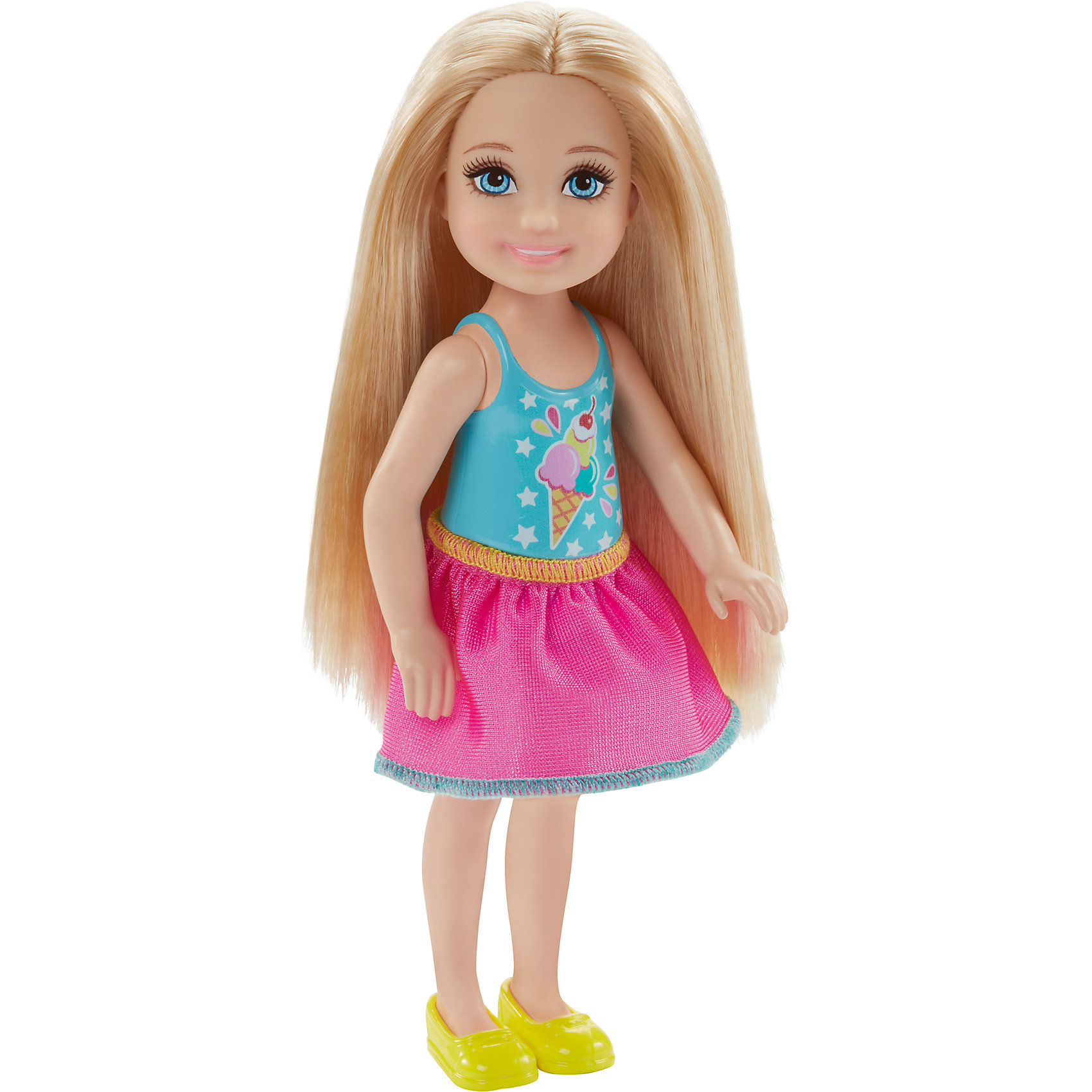 Кукла-Челси, BarbieBarbie<br>Характеристики товара:<br><br>• комплектация: 1 кукла, одежда, аксессуар<br>• материал: пластик, полимер, текстиль<br>• подвижные части тела<br>• высота куклы: 13,5 см<br>• длинные волосы<br>• возраст: от трех лет<br>• размер упаковки: 16х9х4 см<br>• вес: 0,3 кг<br>• страна бренда: США<br><br>Маленьких любительниц куклы Barbie наверняка порадует малышка Челси в новом образе. Она выглядит очаровательно в ярком наряде. Длинные волосы позволяют делать разнообразные прически! Кукла дополнена аксессуаром, чтобы игры с ней стали разнообразнее. Эта Челси станет великолепным подарком для девочек!<br><br>Игры с куклами помогают развить у девочек вкус и чувство стиля, отработать сценарии поведения в обществе, развить воображение и мелкую моторику. Такую куклу удобно брать с собой в поездки и на прогулки. Маленькая Челси от бренда Mattel не перестает быть популярной! <br><br>Куклу Челси, Barbie, от компании Mattel можно купить в нашем интернет-магазине.<br><br>Ширина мм: 90<br>Глубина мм: 40<br>Высота мм: 160<br>Вес г: 73<br>Возраст от месяцев: 36<br>Возраст до месяцев: 120<br>Пол: Женский<br>Возраст: Детский<br>SKU: 5389669