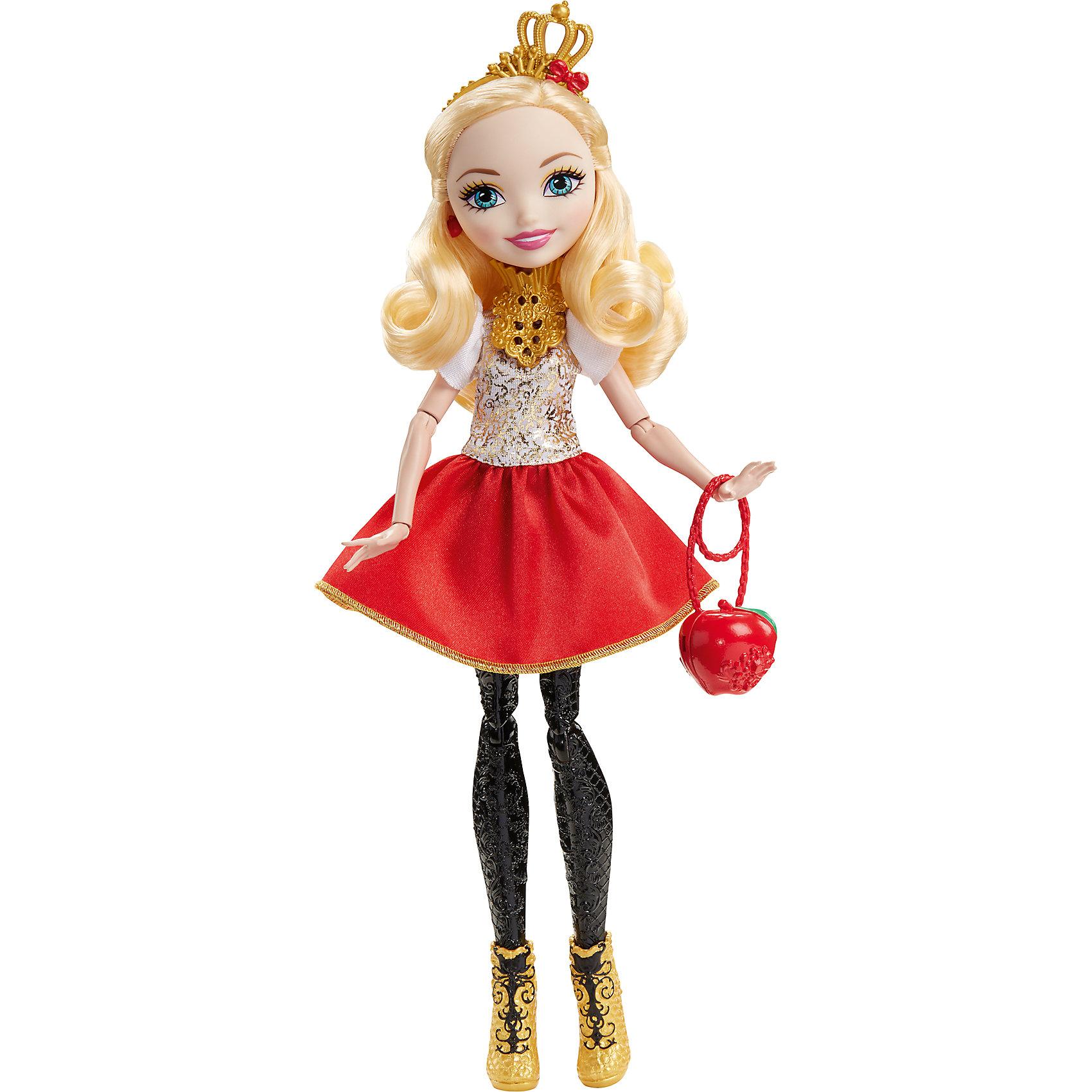 Кукла Эппл Уайт из серии Отважные принцессы, Ever After HighEver After High Игрушки<br>Характеристики товара:<br><br>• имя героини: Эппл Уайт, дочь Белоснежки<br>• комплектация: кукла, одежда, аксессуары<br>• материал: пластик, текстиль<br>• серия: Отважные принцессы, Ever After High<br>• руки, ноги гнутся<br>• высота куклы: 28 см<br>• возраст: от 6 лет<br>• размер упаковки: 33х23х7 см<br>• вес: 0,3 кг<br>• страна бренда: США<br><br>Такая современная кукла порадует маленьких любительниц мира Ever After High . Костюм героини дополняет обувь и аксессуары. Руки и ноги гнутся, из длинных волос можно делать прически! Кукла Эппл Уайтиз серии Отважные принцессы, Ever After High, станет великолепным подарком для девочек.<br><br>Игры с куклами помогают девочкам отработать сценарии поведения в обществе, развить воображение и мелкую моторику. Изделие произведено из безопасных для детей материалов. Куклы Monster High и Ever After High от бренда Mattel не перестают быть популярными у современных девочек! <br><br>Куклу Эппл Уайт из серии Отважные принцессы, Ever After High, от компании Mattel можно купить в нашем интернет-магазине.<br><br>Ширина мм: 230<br>Глубина мм: 65<br>Высота мм: 130<br>Вес г: 312<br>Возраст от месяцев: 72<br>Возраст до месяцев: 144<br>Пол: Женский<br>Возраст: Детский<br>SKU: 5389676