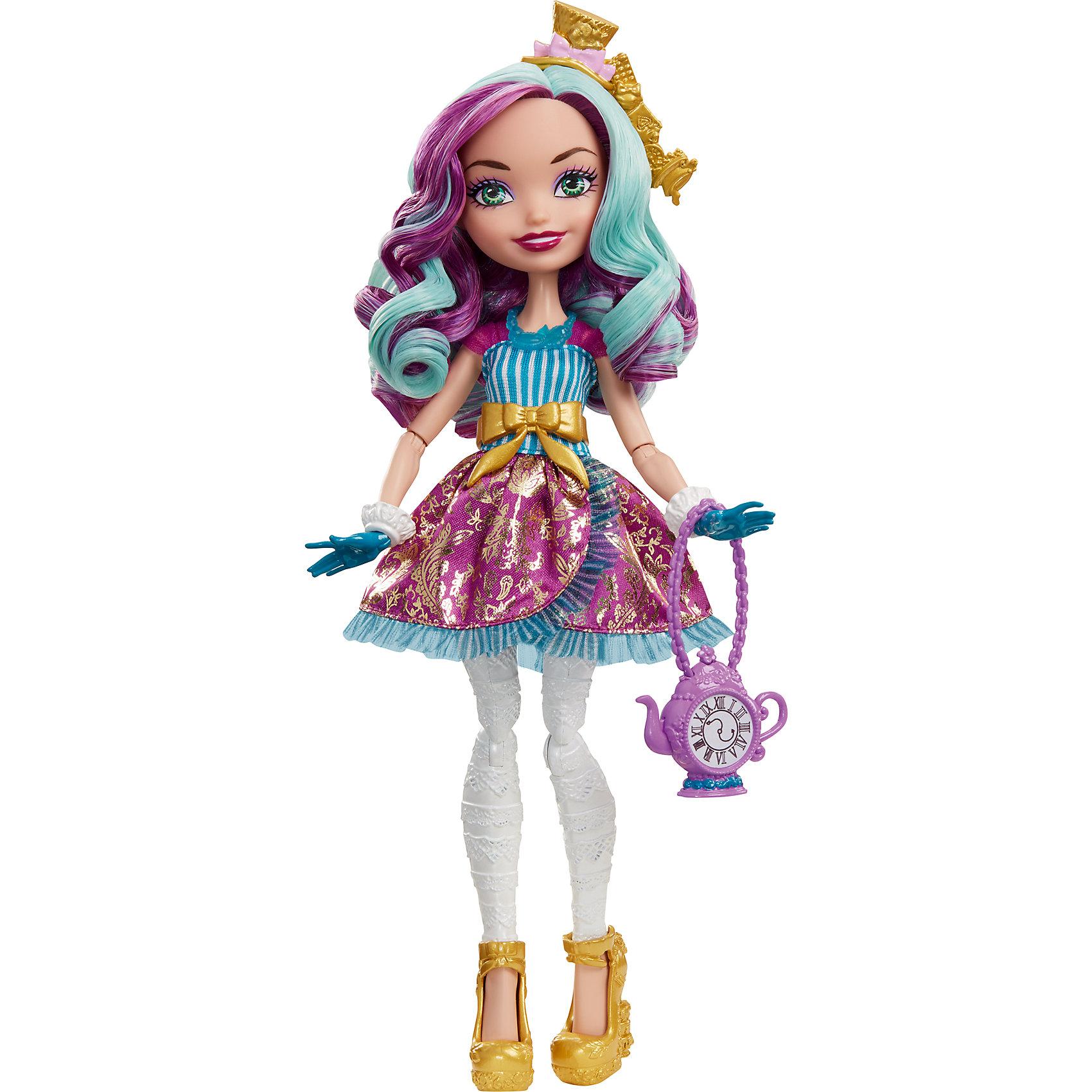 Кукла Мэдлин Хэттер из серии Отважные принцессы, Ever After HighБренды кукол<br>Характеристики товара:<br><br>• имя героини: Мэдлин Хэттер, дочь безумного Шляпника<br>• комплектация: кукла, одежда, аксессуары<br>• материал: пластик, текстиль<br>• серия: Отважные принцессы, Ever After High<br>• руки, ноги гнутся<br>• высота куклы: 28 см<br>• возраст: от 6 лет<br>• размер упаковки: 33х23х7 см<br>• вес: 0,3 кг<br>• страна бренда: США<br><br>Такая современная кукла порадует маленьких любительниц мира Ever After High . Костюм героини дополняет обувь и аксессуары. Руки и ноги гнутся, из длинных волос можно делать прически! Кукла Мэдлин Хэттер серии Отважные принцессы, Ever After High, станет великолепным подарком для девочек.<br><br>Игры с куклами помогают девочкам отработать сценарии поведения в обществе, развить воображение и мелкую моторику. Изделие произведено из безопасных для детей материалов. Куклы Monster High и Ever After High от бренда Mattel не перестают быть популярными у современных девочек! <br><br>Куклу Мэдлин Хэттер из серии Отважные принцессы, Ever After High, от компании Mattel можно купить в нашем интернет-магазине.<br><br>Ширина мм: 230<br>Глубина мм: 65<br>Высота мм: 130<br>Вес г: 312<br>Возраст от месяцев: 72<br>Возраст до месяцев: 144<br>Пол: Женский<br>Возраст: Детский<br>SKU: 5389677