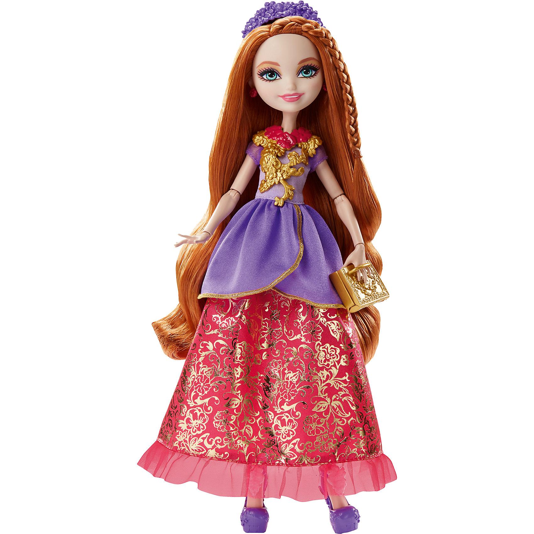 Кукла Холли О'Хара из серии Отважные принцессы, Ever After HighEver After High<br>Характеристики товара:<br><br>• имя героини: Холли О'Хара, дочь Рапунцель<br>• комплектация: кукла, одежда, аксессуары<br>• материал: пластик, текстиль<br>• серия: Отважные принцессы, Ever After High<br>• руки, ноги гнутся<br>• высота куклы: 28 см<br>• возраст: от 6 лет<br>• размер упаковки: 33х23х7 см<br>• вес: 0,3 кг<br>• страна бренда: США<br><br>Такая современная кукла порадует маленьких любительниц мира Ever After High . Костюм героини дополняет обувь и аксессуары. Руки и ноги гнутся, из длинных волос можно делать прически! Кукла Холли О'Хара серии Отважные принцессы, Ever After High, станет великолепным подарком для девочек.<br><br>Игры с куклами помогают девочкам отработать сценарии поведения в обществе, развить воображение и мелкую моторику. Изделие произведено из безопасных для детей материалов. Куклы Monster High и Ever After High от бренда Mattel не перестают быть популярными у современных девочек! <br><br>Куклу Холли О'Хара из серии Отважные принцессы, Ever After High, от компании Mattel можно купить в нашем интернет-магазине.<br><br>Ширина мм: 230<br>Глубина мм: 65<br>Высота мм: 130<br>Вес г: 312<br>Возраст от месяцев: 72<br>Возраст до месяцев: 144<br>Пол: Женский<br>Возраст: Детский<br>SKU: 5389678