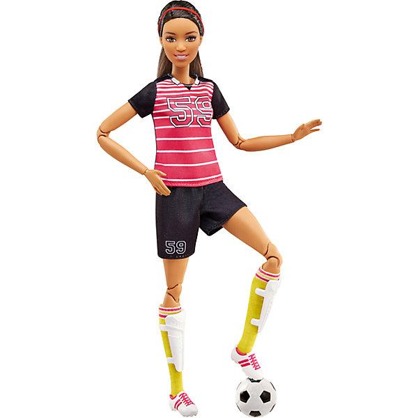 Кукла Футболистка из серии Безграничные движения, BarbieКуклы модели<br>Характеристики товара:<br><br>• комплектация: кукла, одежда, аксессуары<br>• материал: пластик, текстиль<br>• серия: Безграничные движения<br>• 22 точки артикуляции - гнутся различные части тела<br>• высота куклы: 29 см<br>• возраст: от трех лет<br>• размер упаковки: 33х17х7 см<br>• вес: 0,3 кг<br>• страна бренда: США<br><br>Барби может разной! Такой современный образ изящной куклы порадует маленьких любительниц спорта. Спортивную форму дополняет обувь и аксессуары. Руки и ноги гнутся еще лучше, а также подвижными стали другие части тела - всего у куклы 22 точки артикуляции! Барби из серии Безграничные движения станет великолепным подарком для девочек, которые живут спортом.<br><br>Такие куклы помогают развить у девочек любовь к спорту, отработать сценарии поведения в обществе, развить воображение и мелкую моторику. Барби от бренда Mattel не перестает быть популярной! <br><br>Куклу Футболистка из серии Безграничные движения от компании Mattel можно купить в нашем интернет-магазине.<br>Ширина мм: 65; Глубина мм: 165; Высота мм: 330; Вес г: 303; Возраст от месяцев: 36; Возраст до месяцев: 120; Пол: Женский; Возраст: Детский; SKU: 5389687;
