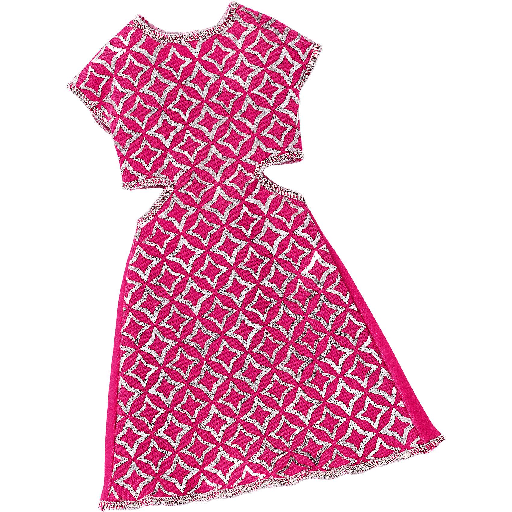 Универсальное платье для куклы (для всех типов фигур), BarbieОдежда для кукол<br>Характеристики товара:<br><br>• цвет: розовый<br>• комплектация: 1 платье<br>• материал: текстиль<br>• ткань с принтом<br>• качественная обработка швов<br>• универсальное: для всех типов фигур<br>• возраст: от трех лет<br>• страна бренда: США<br><br>Это платье порадует маленьких любительниц кукол Barbie. Оно поможет создать новый образ своей кукле. Платье отлично сидит на разных модификациях Барби, оно прекрасно обработано! Такой наряд станет желанным подарком для девочек, которые следят за модными тенденциями.<br><br>Игры с куклами помогают развить у девочек вкус и чувство стиля, отработать сценарии поведения в обществе, развить воображение и мелкую моторику. Барби от бренда Mattel не перестает быть популярной! <br><br>Универсальное платье для куклы (для всех типов фигур), Barbie, от компании Mattel можно купить в нашем интернет-магазине.<br><br>Ширина мм: 155<br>Глубина мм: 83<br>Высота мм: 15<br>Вес г: 11<br>Возраст от месяцев: 36<br>Возраст до месяцев: 72<br>Пол: Женский<br>Возраст: Детский<br>SKU: 5389690