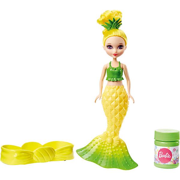 Маленькая русалочка с пузырьками, BarbieКуклы<br>Характеристики товара:<br><br>• комплектация: кукла, контейнер для жидкости, раствор для мыльных пузырей<br>• материал: пластик<br>• серия: Barbie™ Dreamtopia <br>• высота куклы: 19 см<br>• возраст: от трех лет<br>• упаковка: блистер на картоне<br>• размер упаковки: 16х22х5 см<br>• вес: 0,3 кг<br>• страна бренда: США<br><br>Эта красивая кукла Барби порадует маленьких любительниц мыльных пузырей! Чтобы начать с ней играть, необходимо просто налить раствор из бутылочки и с помощью куклы начать пускать мыльные пузыри! Барби-русалочка из серии Dreamtopia станет великолепным подарком для девочек. Кукла дополнена ярким хвостом и роскошными волосами.<br><br>Куклы - это не только весело, они помогают девочкам развить вкус и чувство стиля, отработать сценарии поведения в обществе, развить воображение и мелкую моторику. Кукла от бренда Mattel не перестает быть популярной! <br><br>Маленькая русалочка с пузырьками, Barbie, от компании Mattel можно купить в нашем интернет-магазине.<br>Ширина мм: 233; Глубина мм: 154; Высота мм: 48; Вес г: 183; Возраст от месяцев: 36; Возраст до месяцев: 72; Пол: Женский; Возраст: Детский; SKU: 5389694;